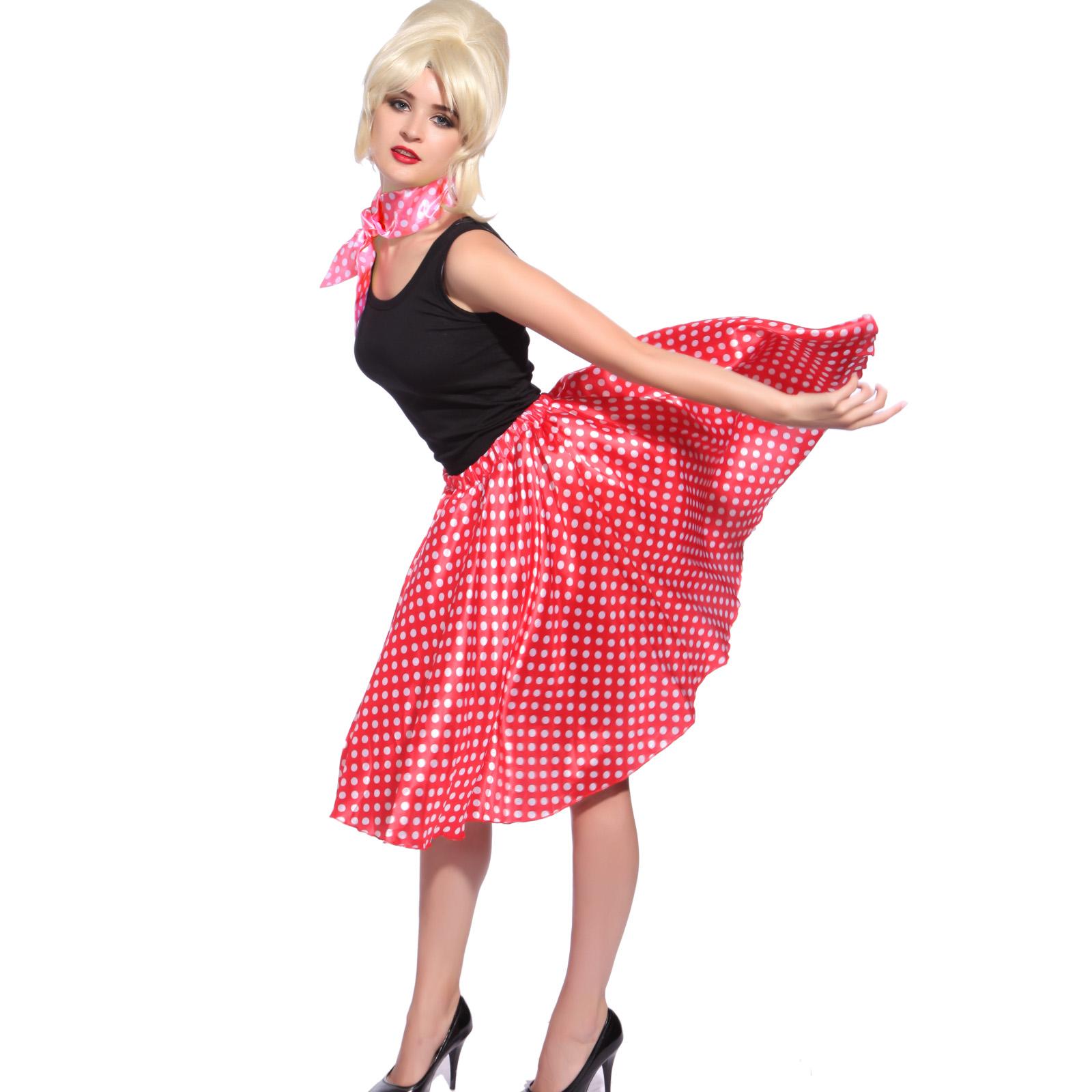 50s 60s Ladies Rock N Roll Polka Dot Grease Dancing Skirt ...