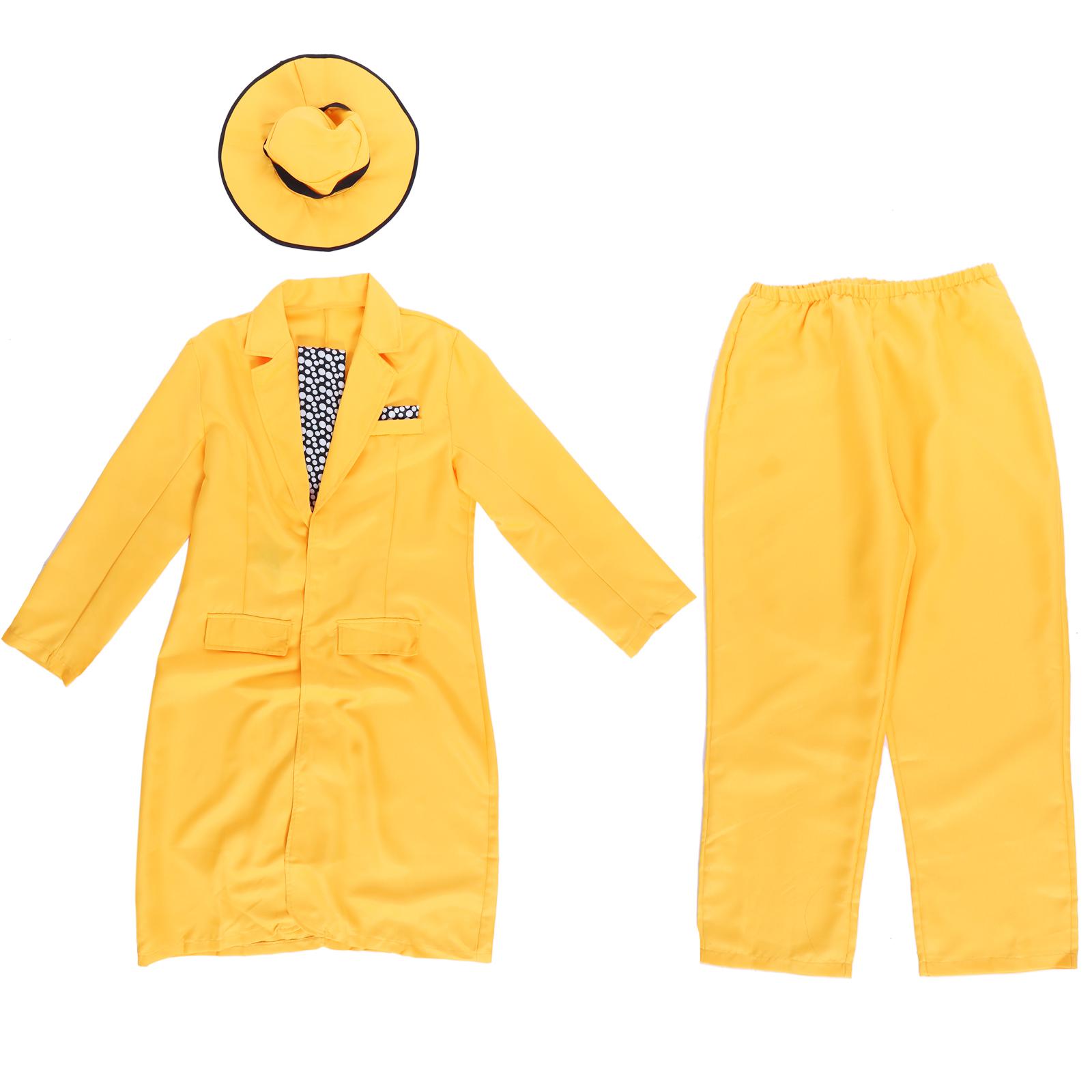 Men 90s Fancy Dress The Mask Jim Carrey Costume Yellow Gangster ...