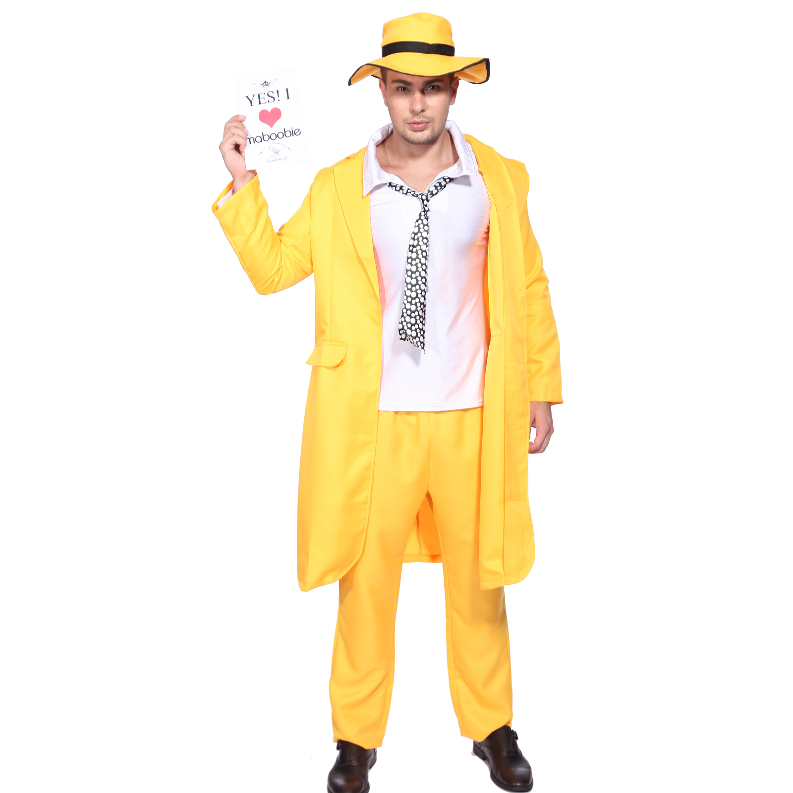 Mens 90's Yellow Gangster Zoot Suit The Mask Jim Carrey ...