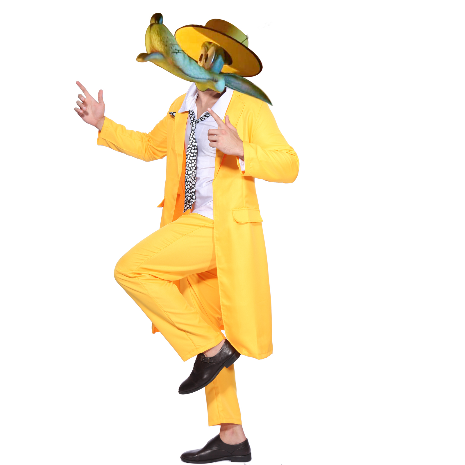 Jim Carrey The Mask Fancy Dress Costume Yellow Gangster Zoot Suit ...
