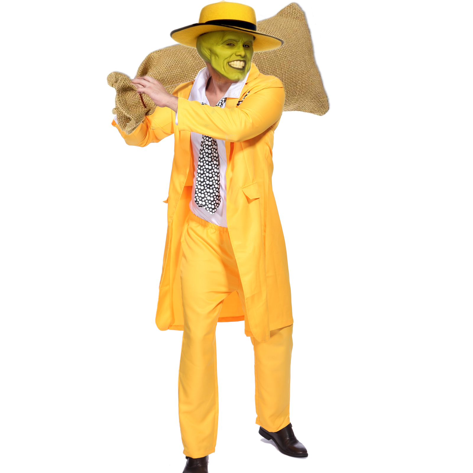 90S ADULT MENS YELLOW GANGSTER ZOOT SUIT THE MASK JIM ... Zoot Suit The Mask