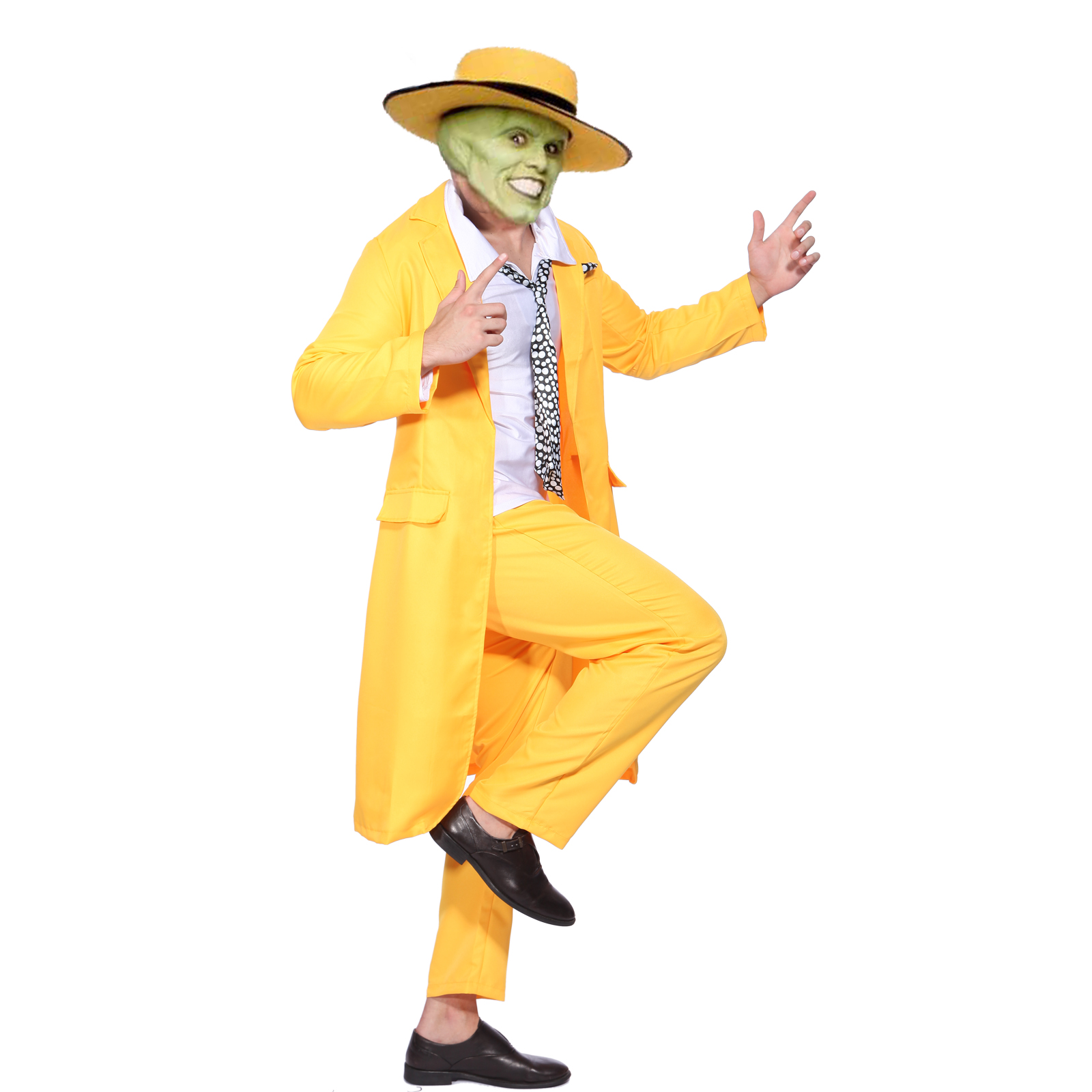 Jim Carrey The Mask Fancy Dress Costume Yellow Gangster