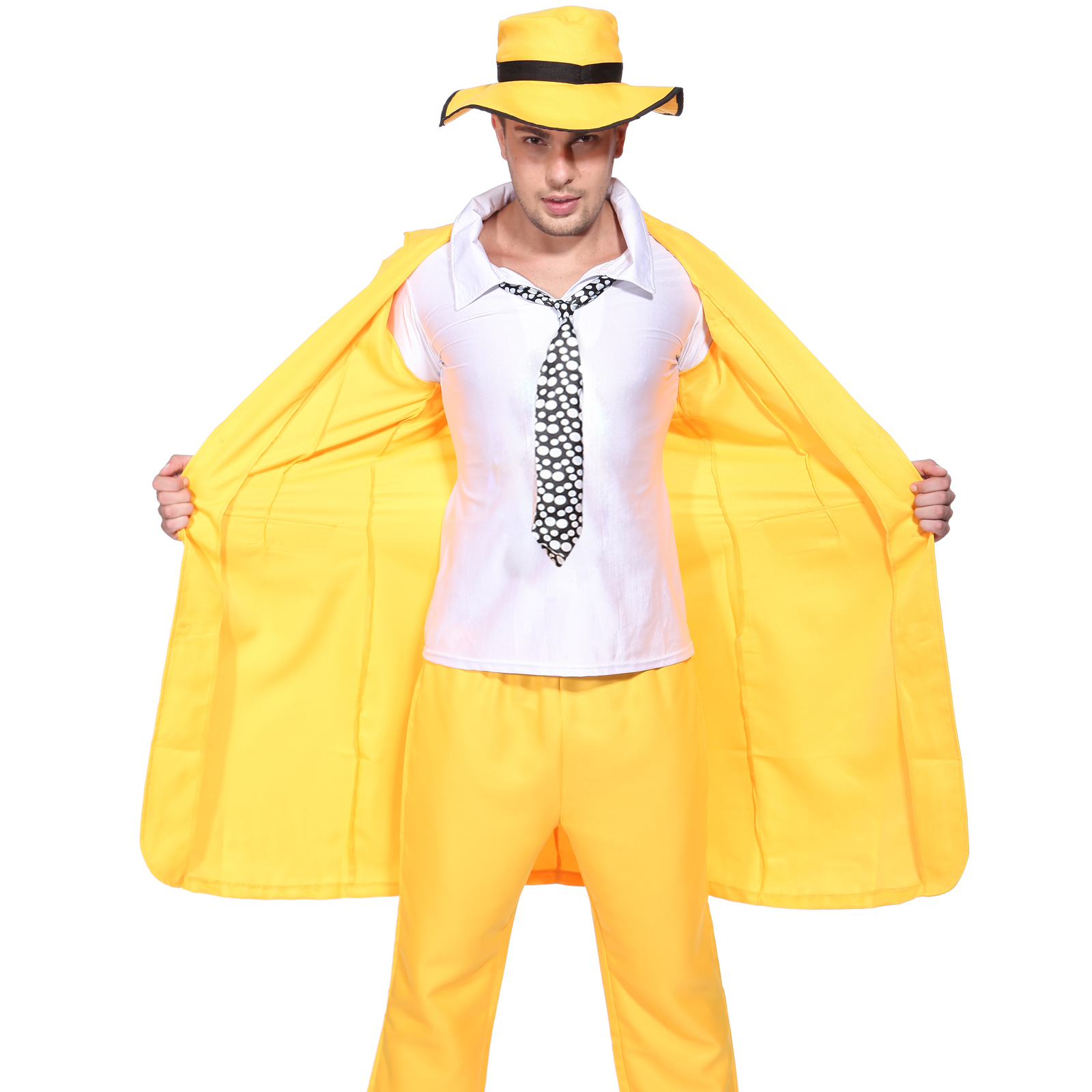 90s FANCY DRESS MENS YELLOW GANGSTER ZOOT SUIT THE MASK JIM CARREY ...