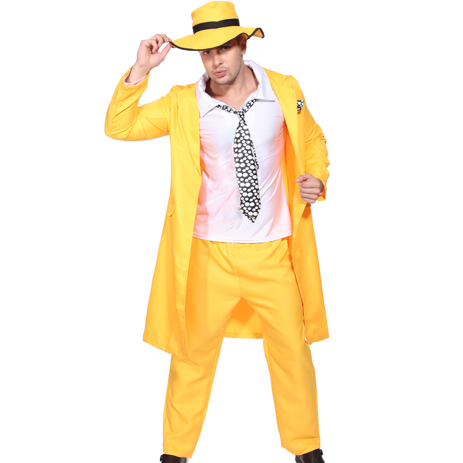 Mens Yellow Gangster Zoot Suit Outfit Jim Carrey Fancy Dress ...