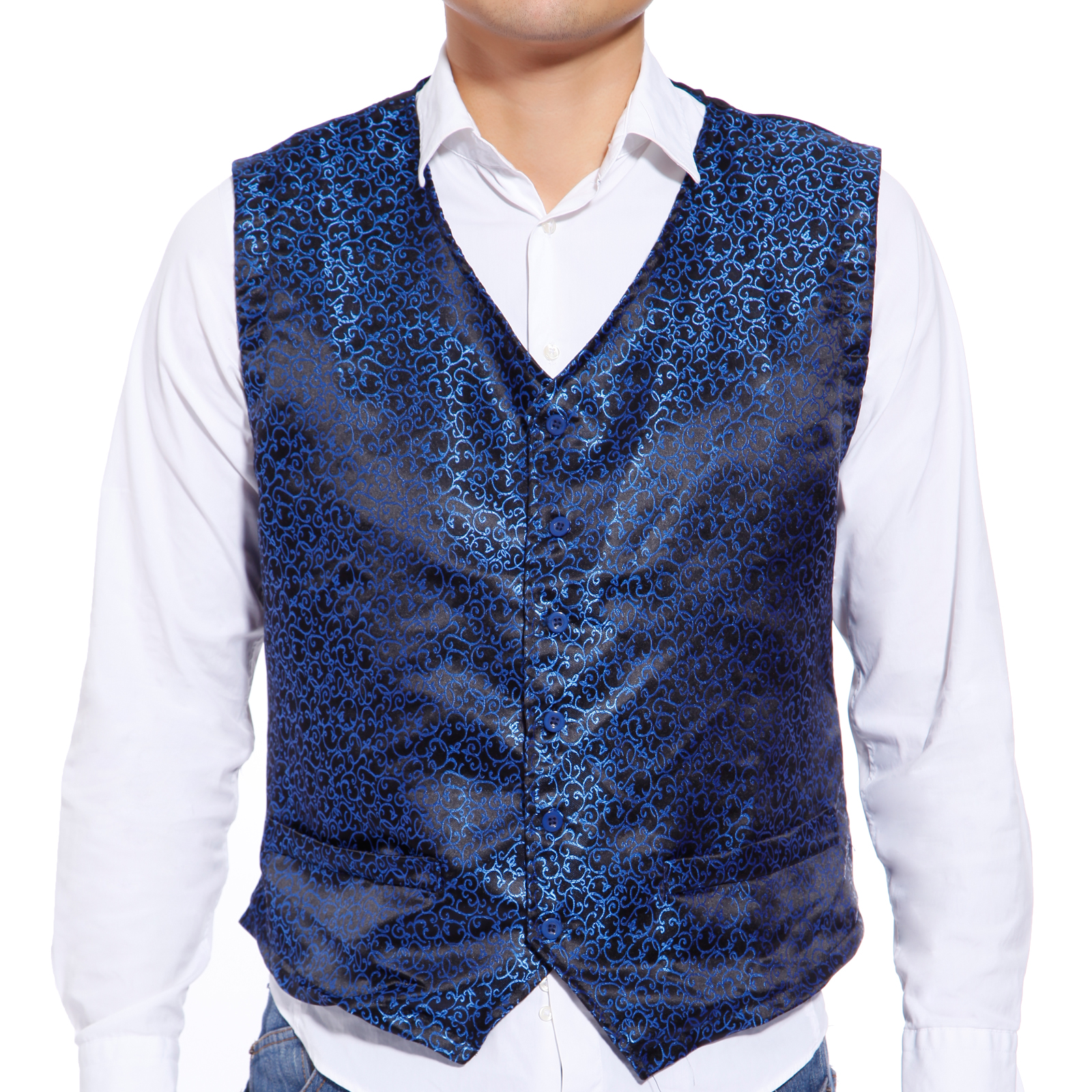 gilet veste a motif slim tuxedo waistcoat damasse uniforme serveur homme mariage ebay. Black Bedroom Furniture Sets. Home Design Ideas