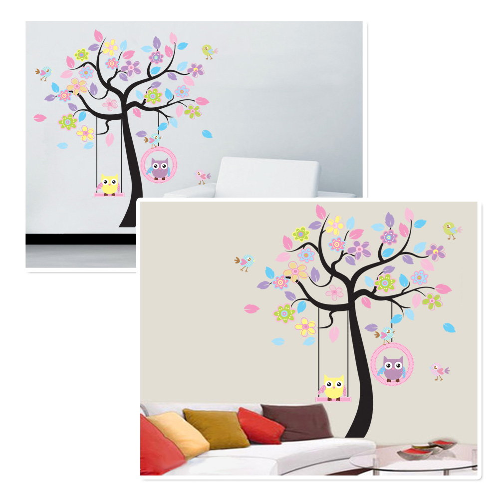 wandsticker deko kinderzimmer diy eule motive wandtattoo wandaufkleber wandbild ebay. Black Bedroom Furniture Sets. Home Design Ideas
