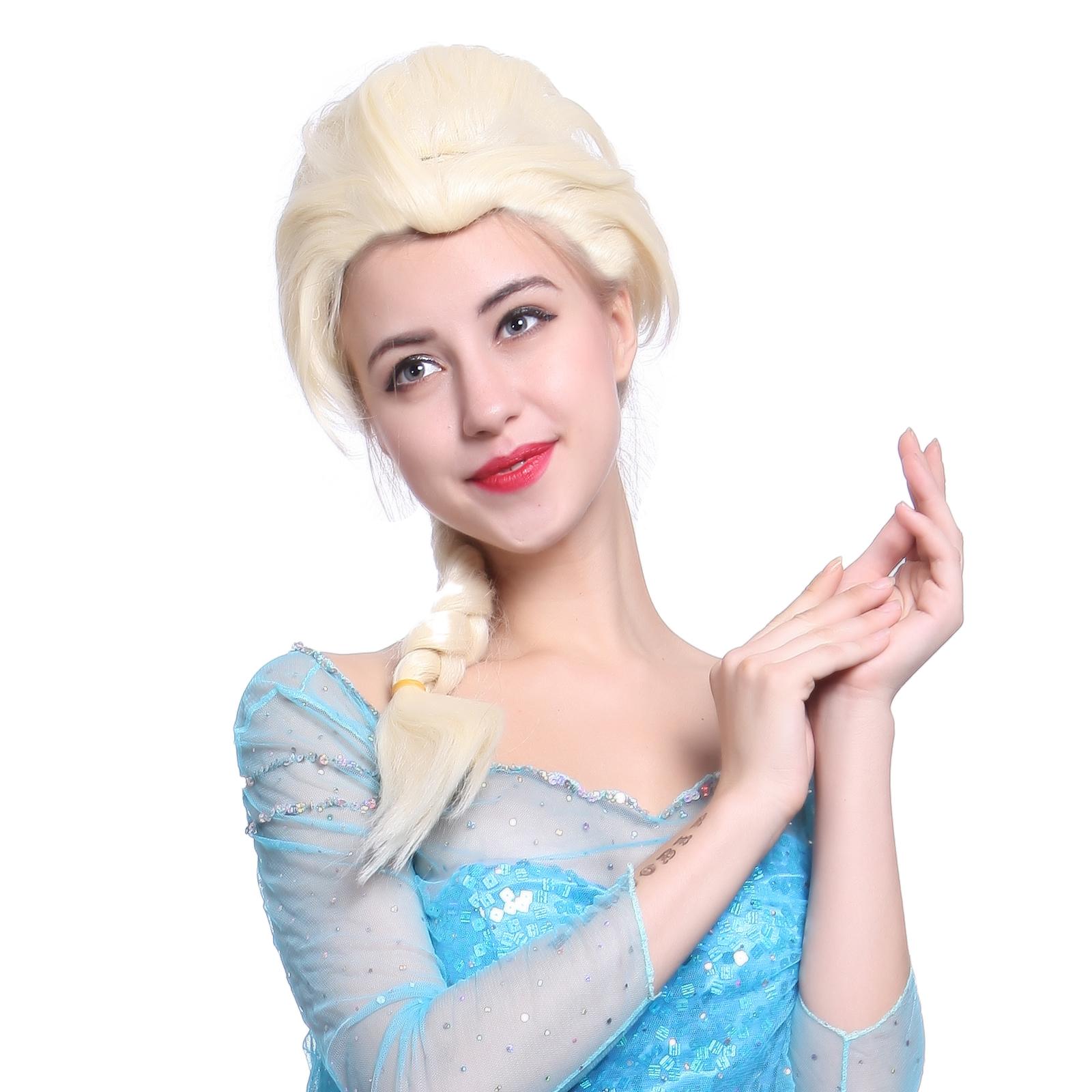 frozen snow queen princess elsa 65cm zopf damen kost m per cke karneval 2015 ebay. Black Bedroom Furniture Sets. Home Design Ideas