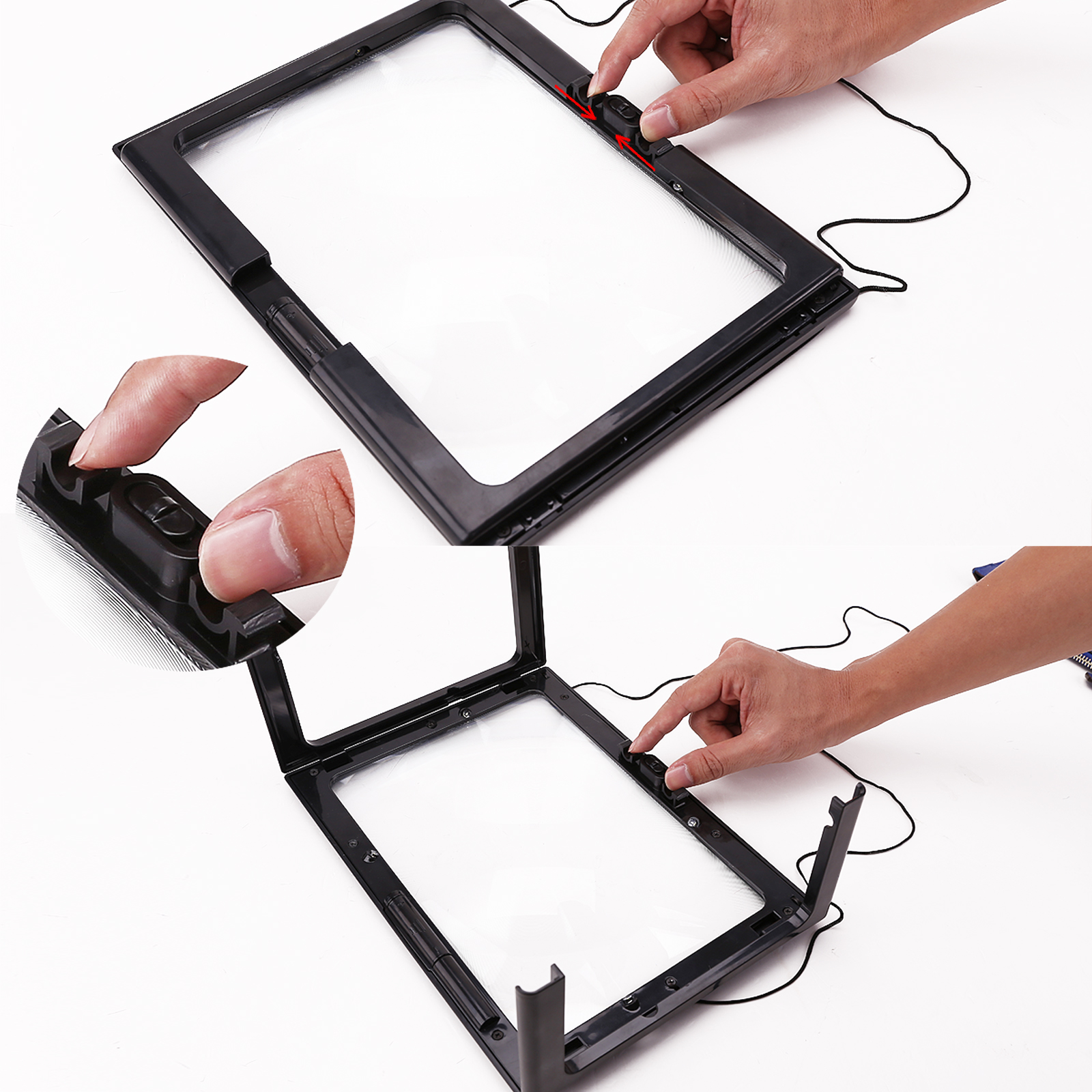giant large hands free magnifying glass with light led magnifier for. Black Bedroom Furniture Sets. Home Design Ideas