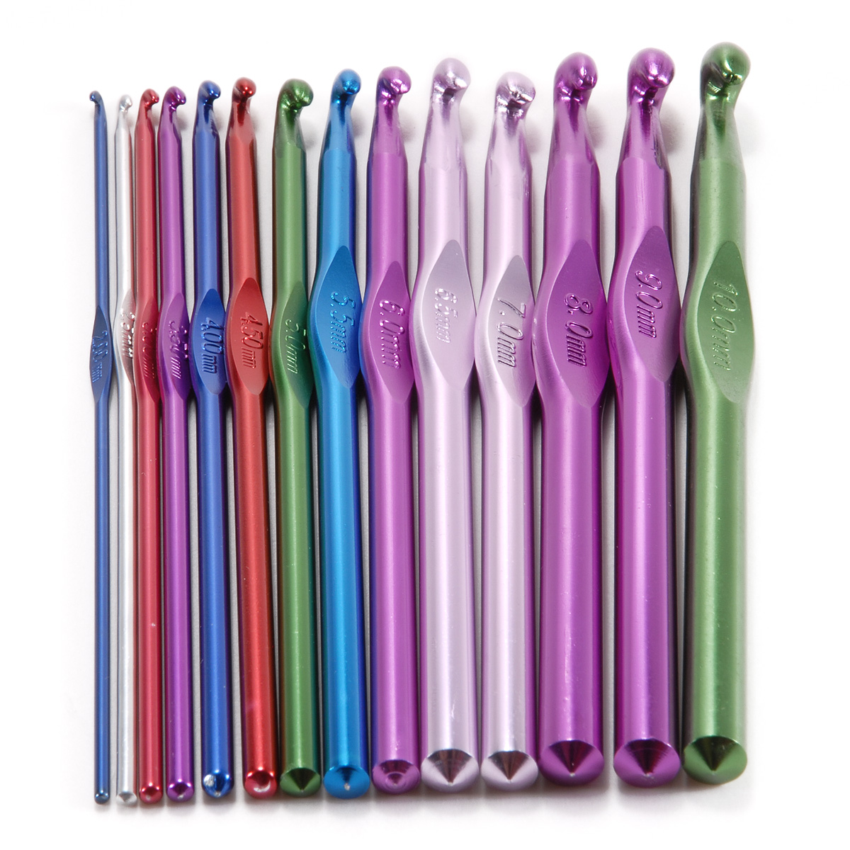 Knitting Needle Sizes Uk : Aluminum size colourful mm crochet hooks knitting