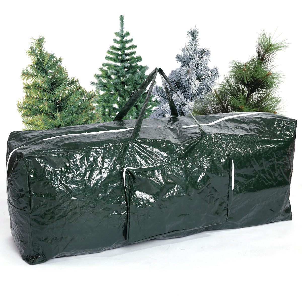Artificial christmas tree lights and decorations zip up