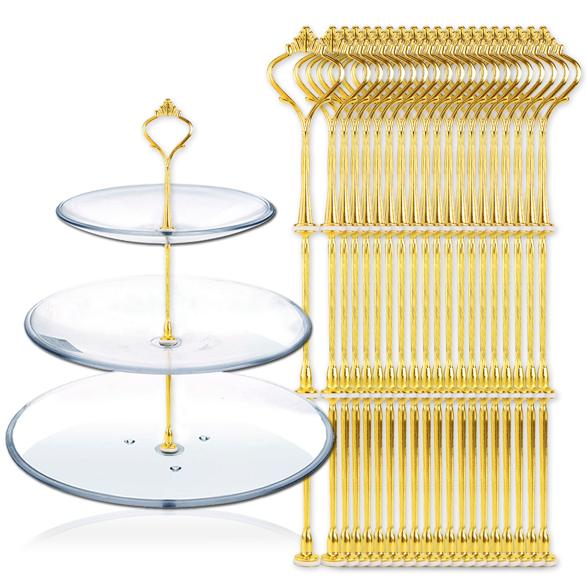 20pcs 3 Tier Vintage Crown Wedding Cake Plate Tiered Stand