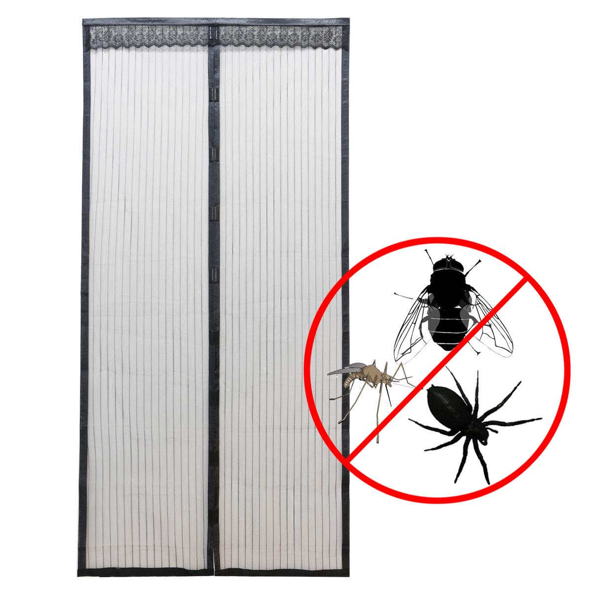 rideau de porte moustiquaire anti moustique insecte magnetique noir 220cm ebay. Black Bedroom Furniture Sets. Home Design Ideas