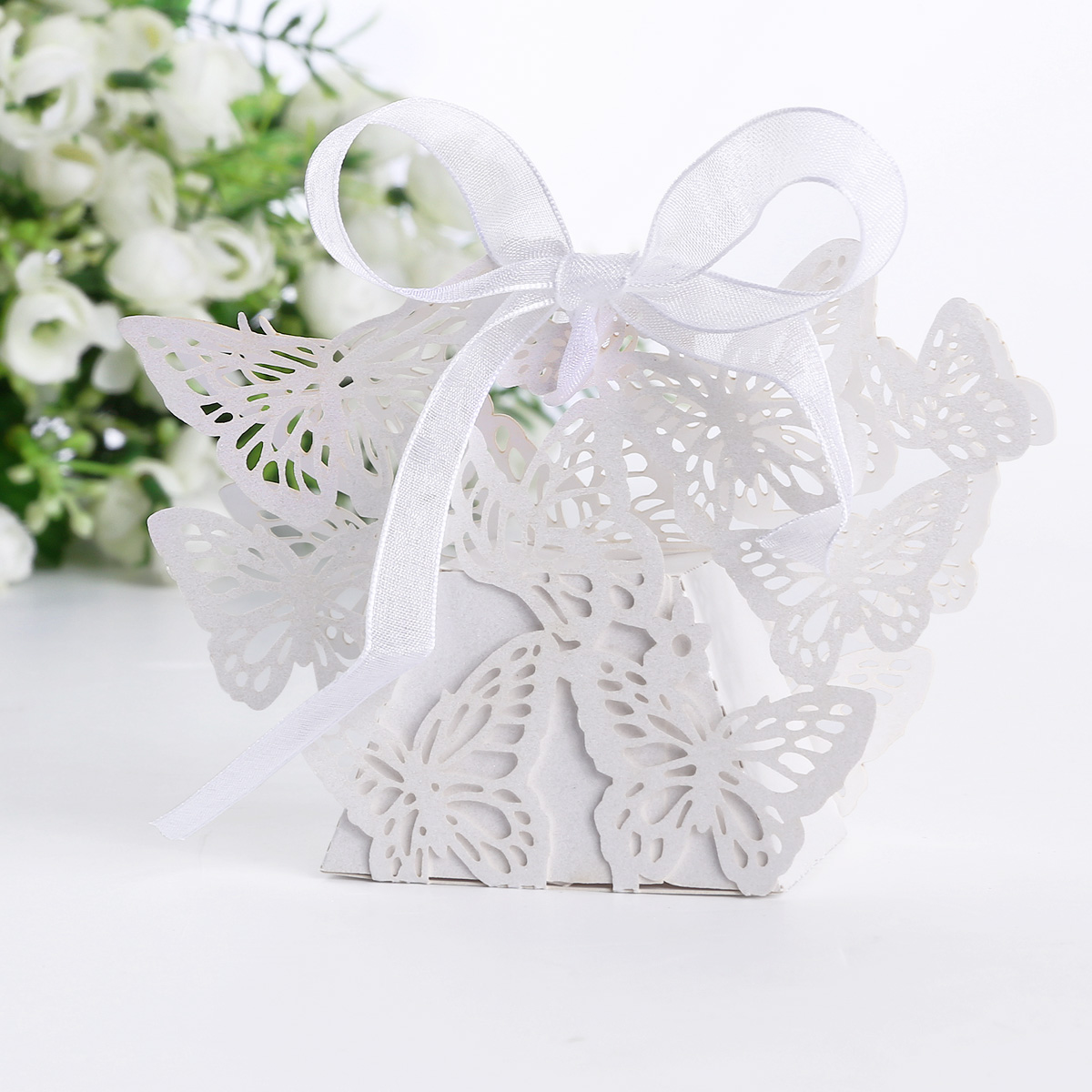Wedding Favor Boxes White : White butterfly laser cut gift candy sweet boxes wedding
