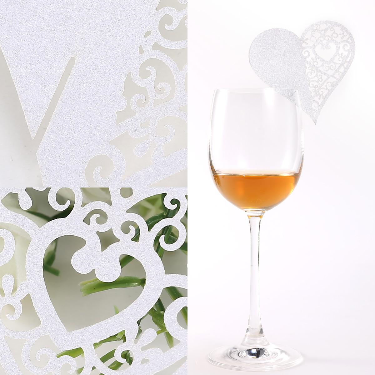 50 20 x carte de verre porte nom coeur nacr mariage - Marque place coeur pied de verre ...
