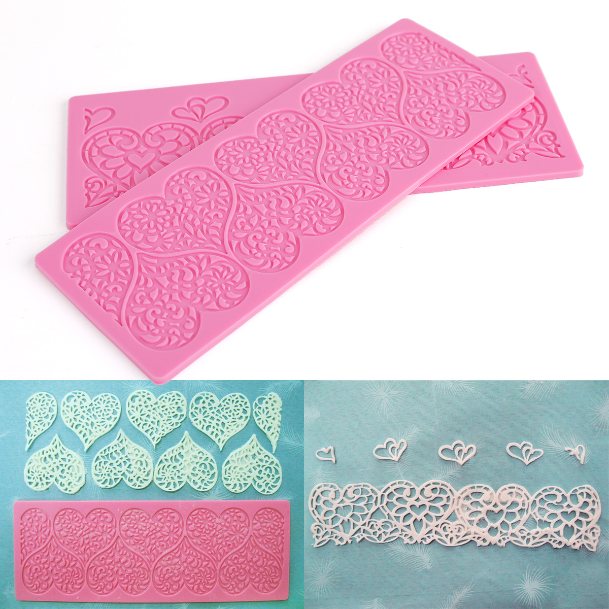 10 Patterns Lace Maker Bolder Silicone Mould Fondant Molds ...