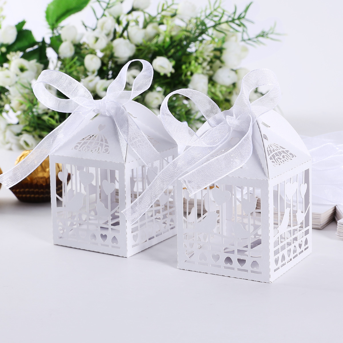 25pcs bo te drag es cage oiseaux coeurs avec ruban pour mariage blanc 918 ebay. Black Bedroom Furniture Sets. Home Design Ideas