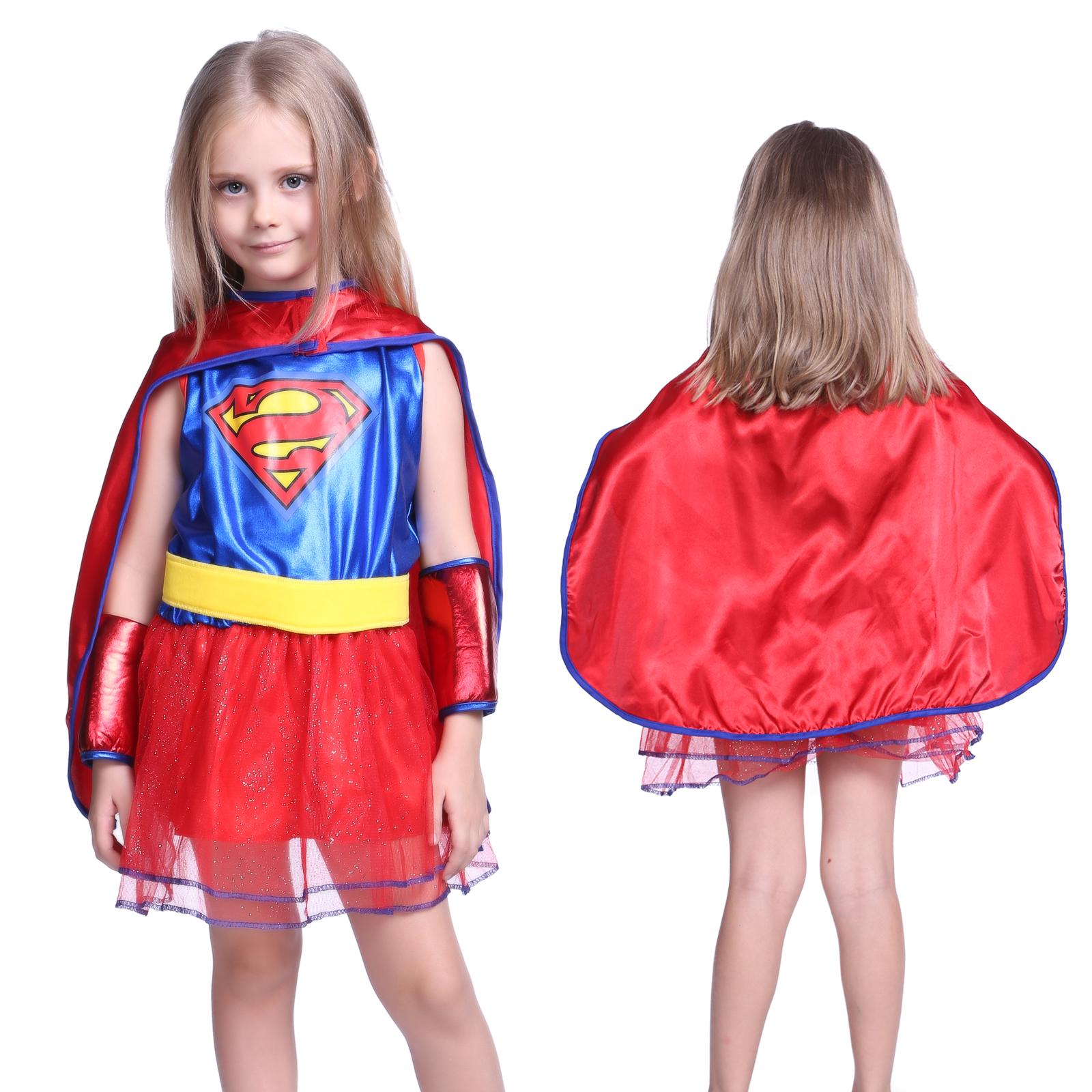 m dchen supergirl kost m fasching karneval kleider. Black Bedroom Furniture Sets. Home Design Ideas