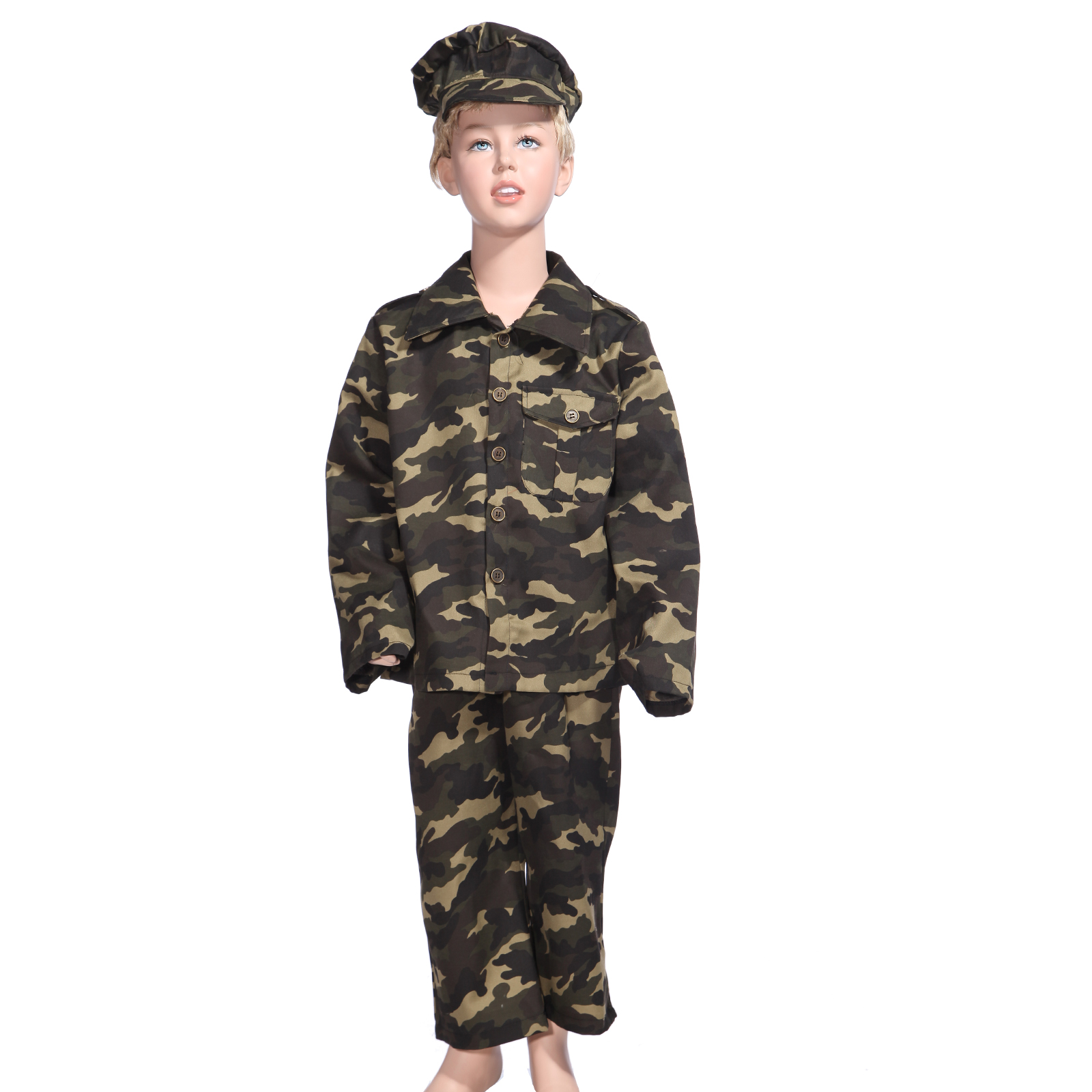 fasching jungen tarnfarbe kost m milit r soldat armee uniform k mpfer gr 128 140 ebay. Black Bedroom Furniture Sets. Home Design Ideas