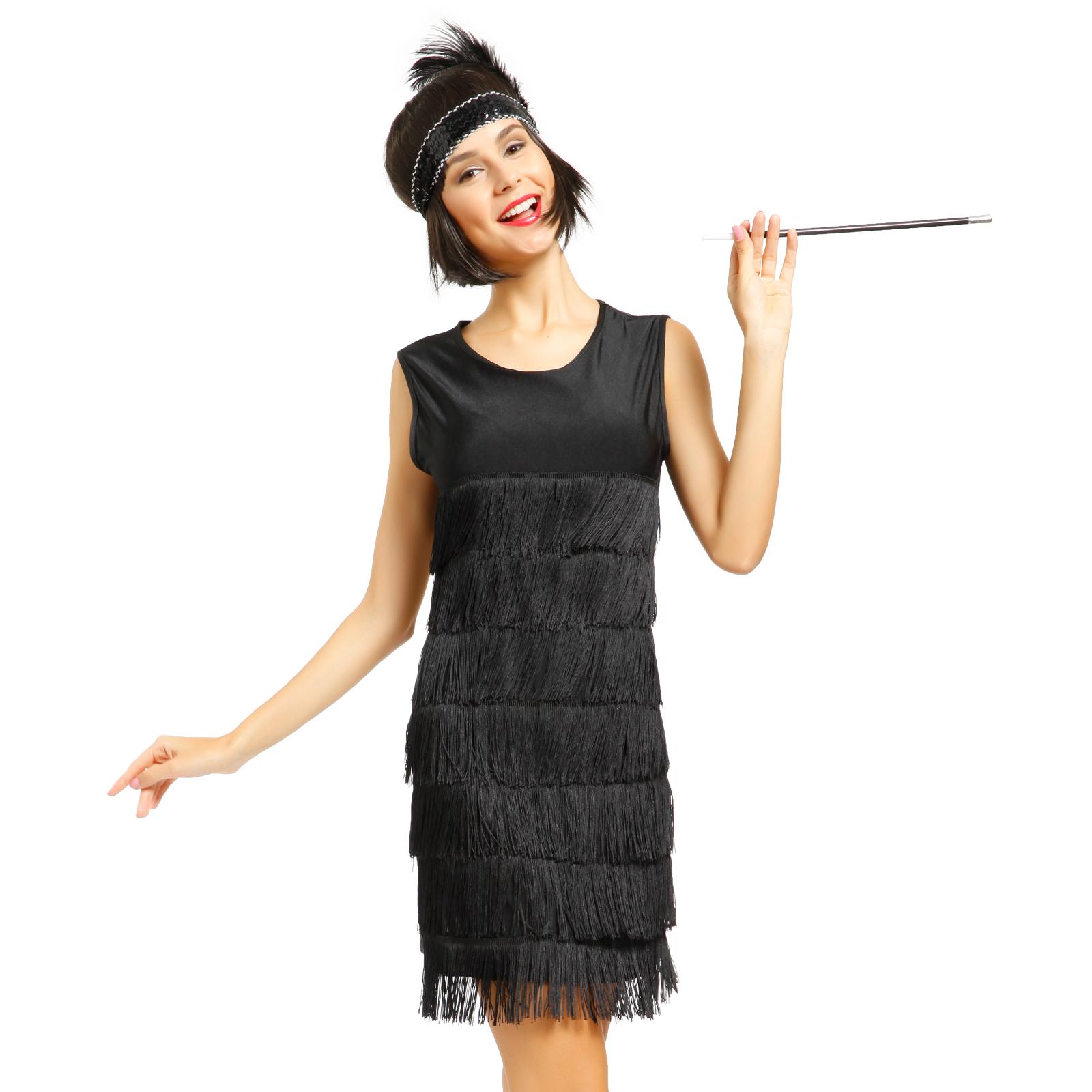 Ladies Flapper Girl Dress 1920s Fringed Charleston Fancy ...