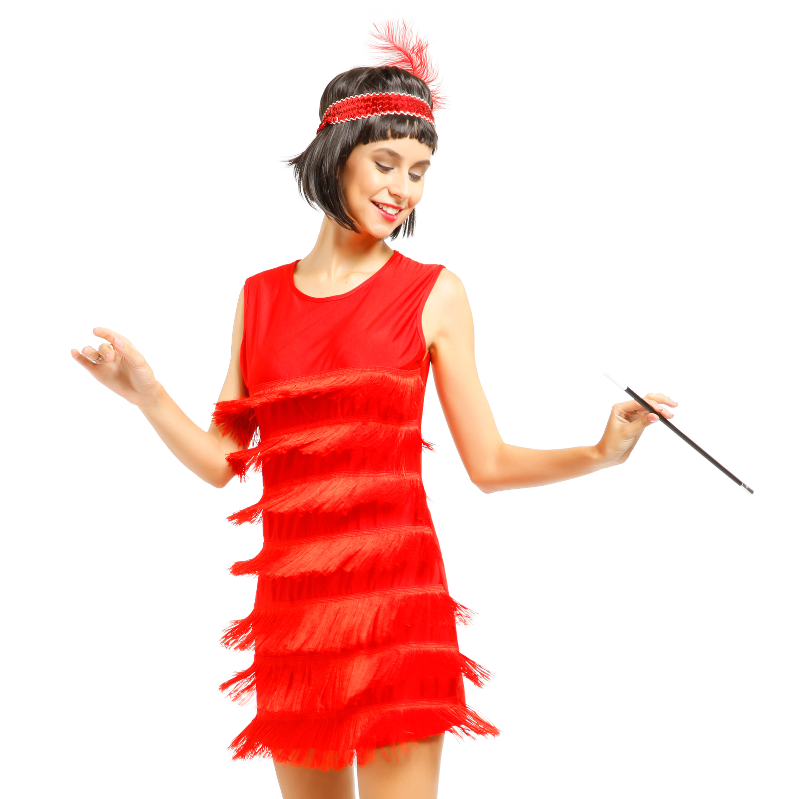 K225B Red Ladies 1920s Roaring 20s Flapper Costume Sequins Outfit Fancy Dress Up