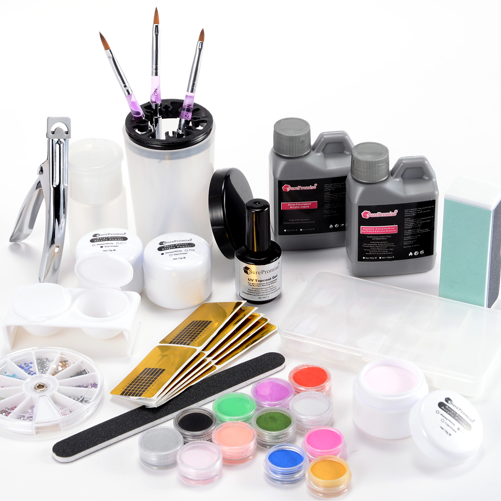 acryl set nail art starter set fl ssigkeit pulver pinsel cleaner nagel set ebay. Black Bedroom Furniture Sets. Home Design Ideas