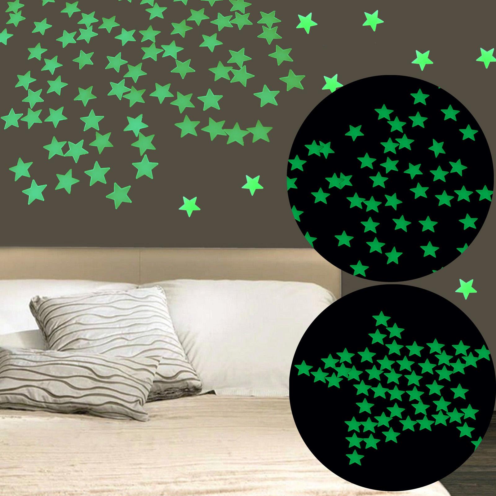 leuchtsterne wandtattoo sterne mond selbstklebend. Black Bedroom Furniture Sets. Home Design Ideas