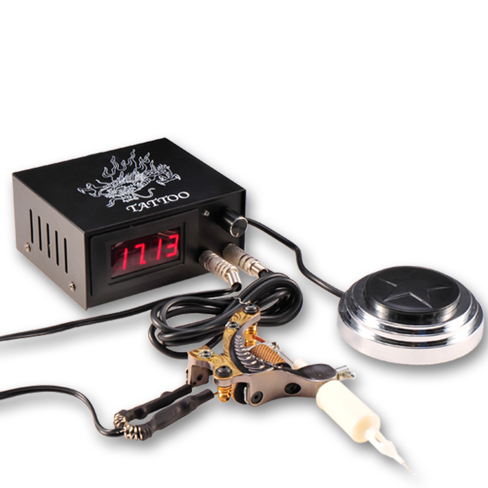 black lcd digital screen tattoo machine gun power supply