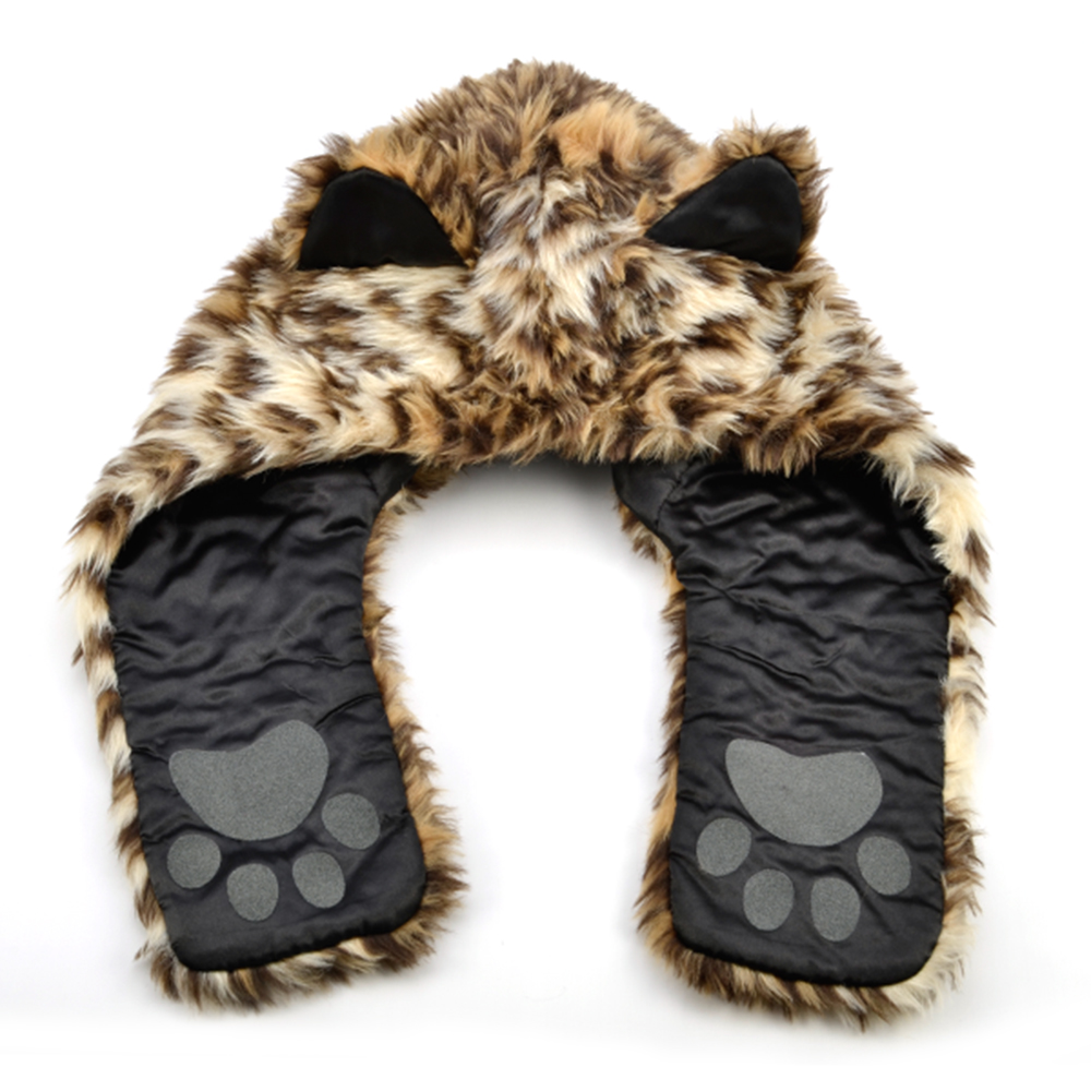 Wild Animal Paw Prints http://www.ebay.co.uk/itm/Fluffy-Wild-Animal-Print-Faux-Fur-Hood-Fancy-Dress-Party-Hoody-Paw-Ear-Hat-/150786211063