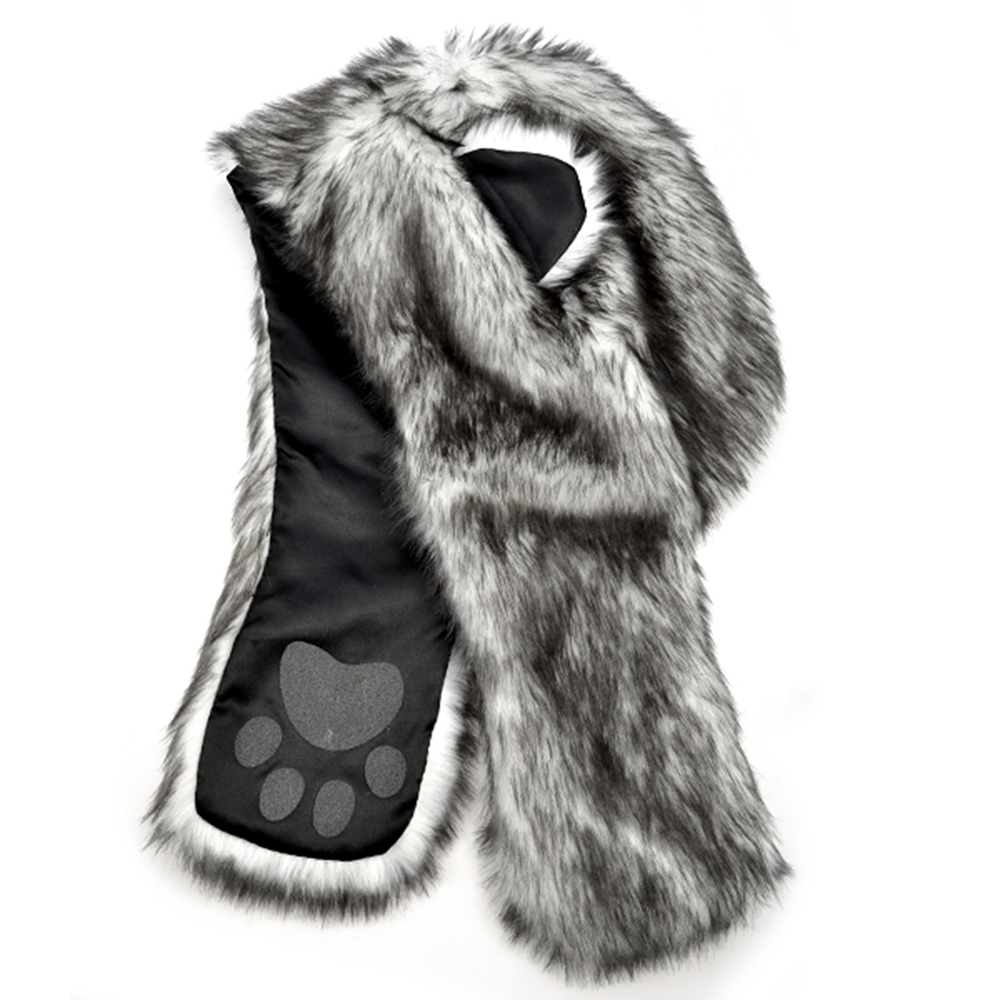 Faux Fur Animal Ear Hoodie HAT animal HOOD w/ paws wolf ...