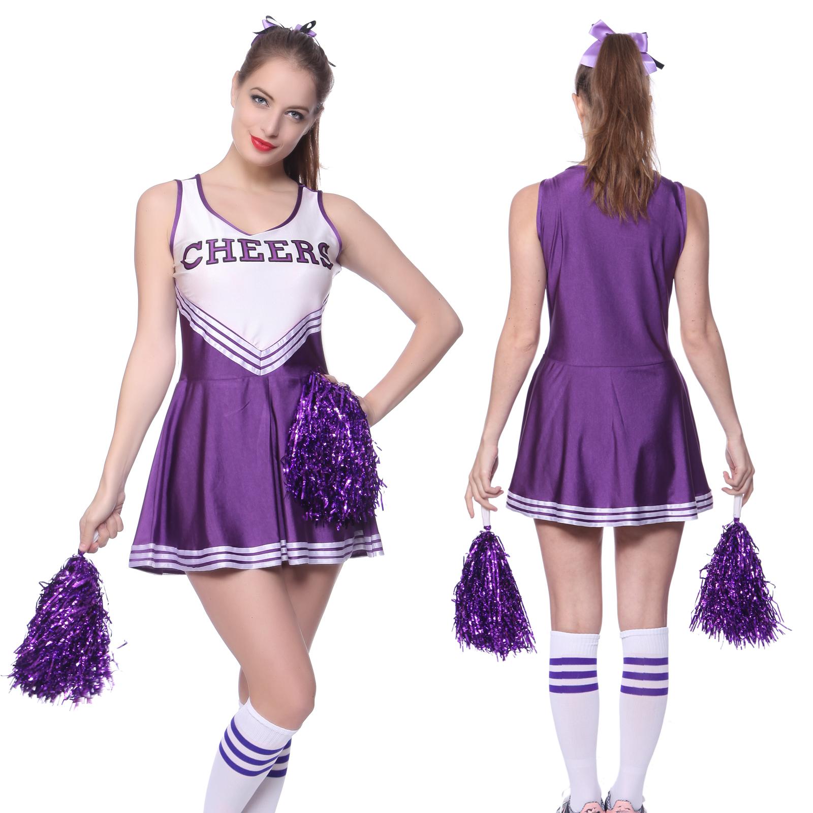 Robe-Debardeur-Deguisement-PomPom-Girl-Uniforme-Cheerleader-XS-XL-Oversize-Femme