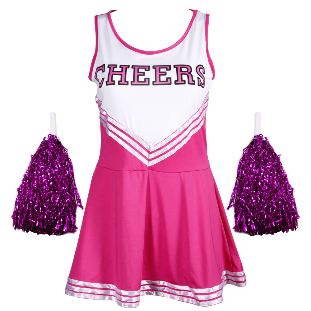 HIGH-SCHOOL-SPORTS-TEAM-CHEER-GIRL-UNIFORM-cheerleader-COSTUME-OUTFIT-W-POM-POMS