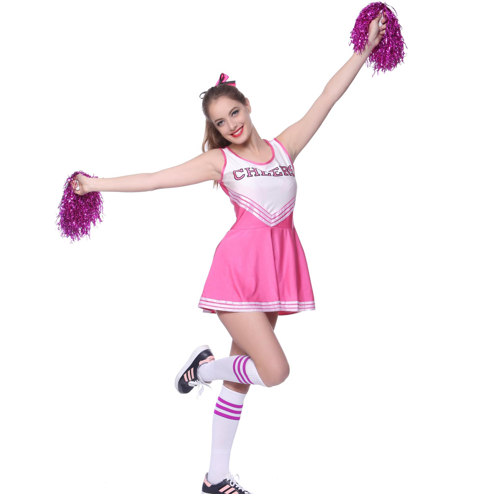 damenkost m cheerleader kost m uniform m dchen minirock sport fest mit pompons ebay. Black Bedroom Furniture Sets. Home Design Ideas
