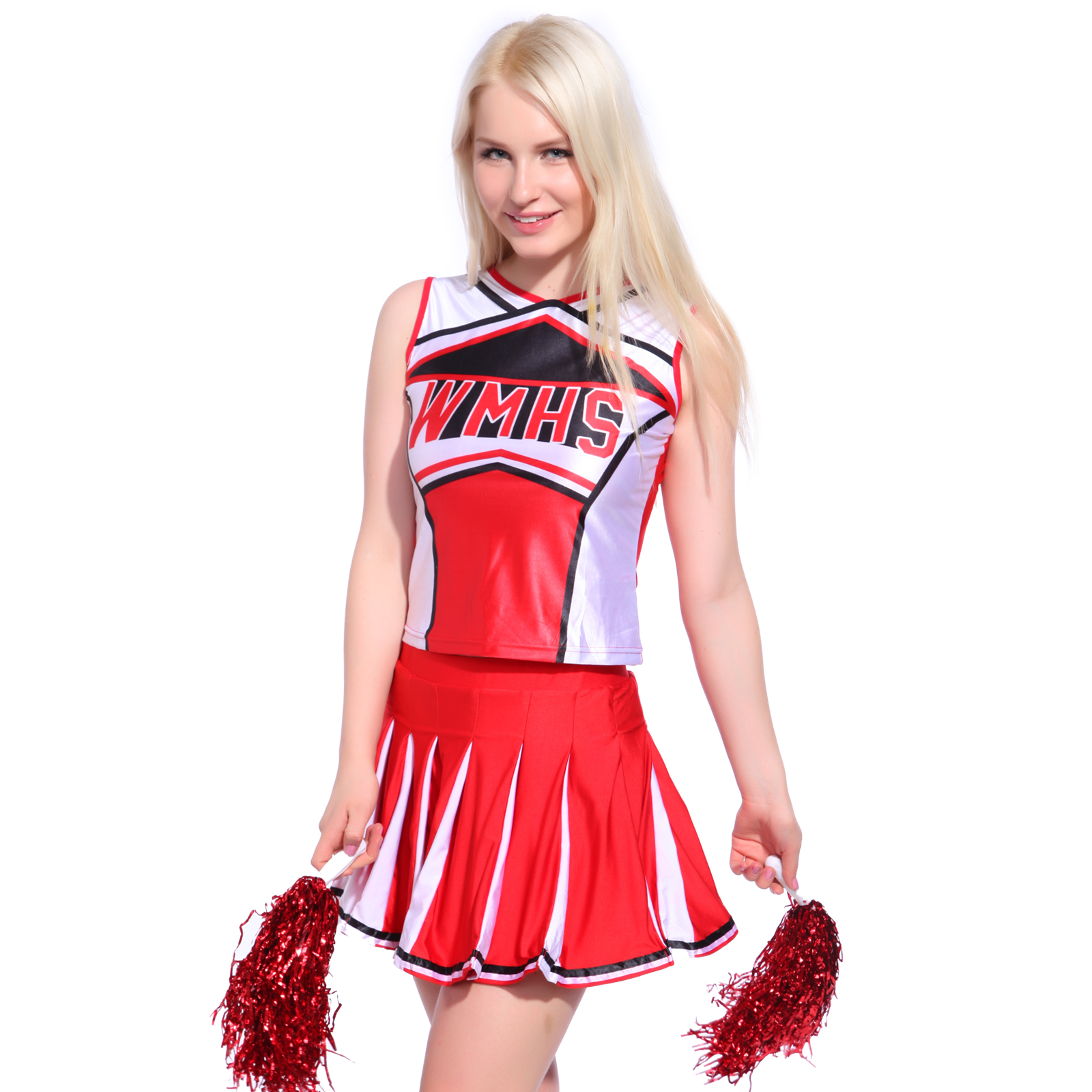 Debardeur Jupon Pom pom girl cheer leader S/M/L 2 pieces deguisement rouge | eBay