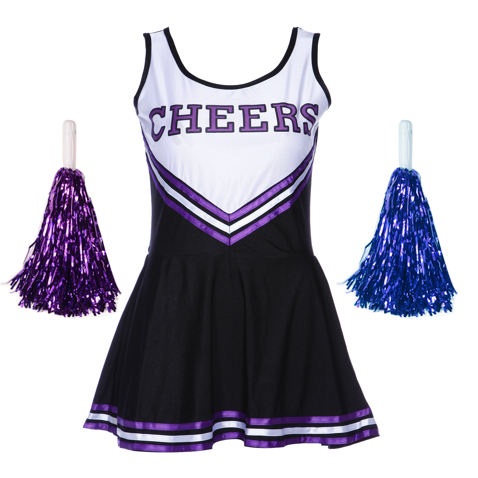 HIGH-SCHOOL-CHEER-GIRL-UNIFORM-cheerleader-1-pcs-dress-COSTUME-OUTFIT-W-POM-POMS