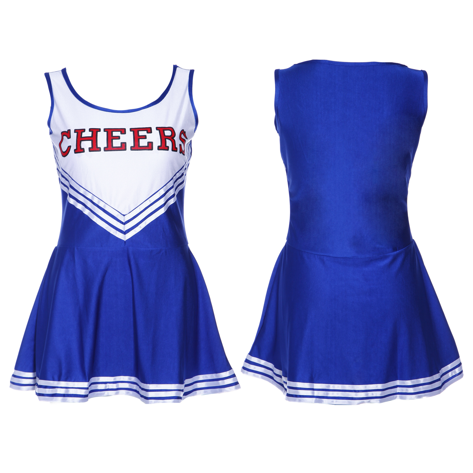 HIGH SCHOOL SPORTS TEAM CHEER GIRL UNIFORM cheerleader COSTUME OUTFIT W/POM POMS | eBay