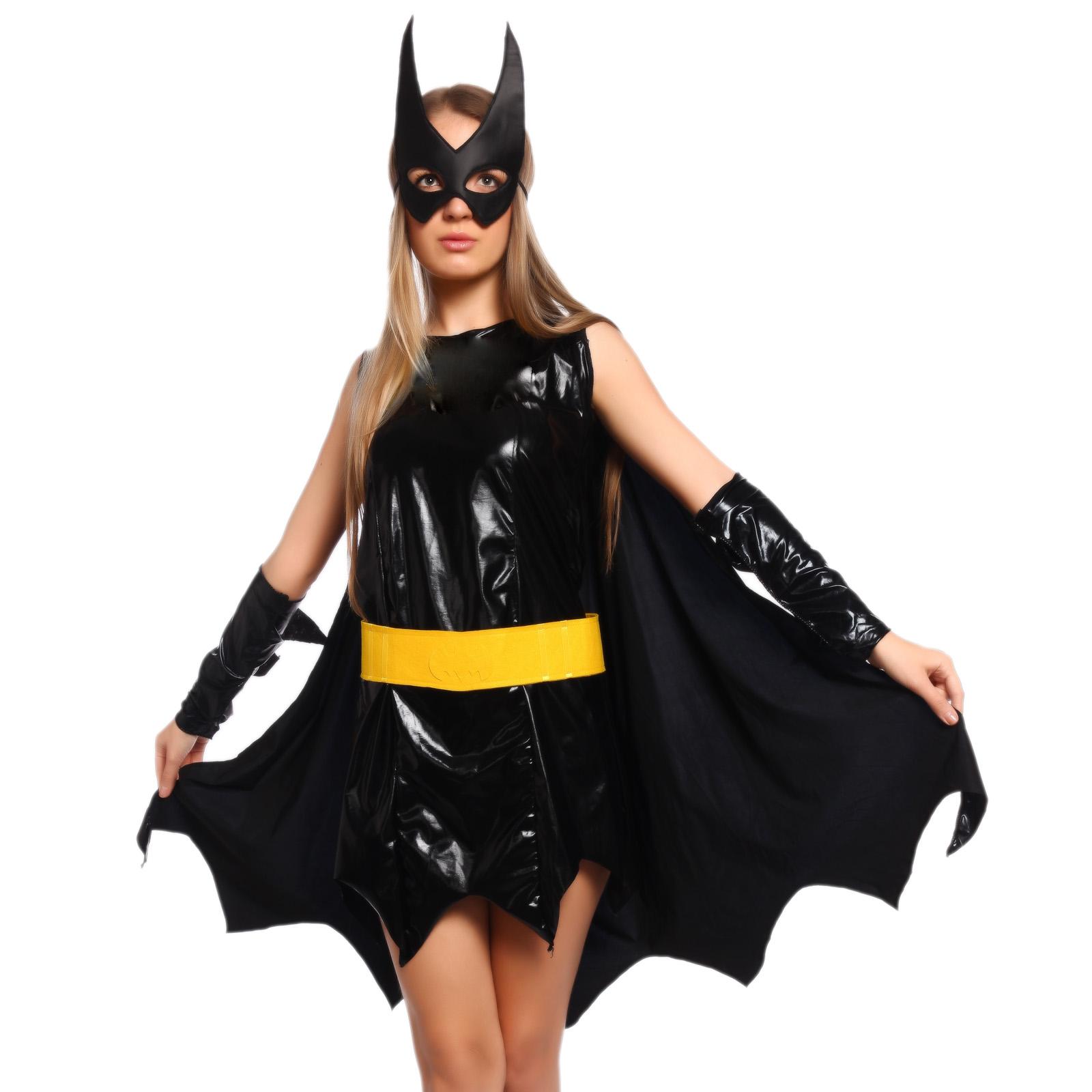 Cotume-de-Deguisement-Robe-Noir-Batgirl-Heroine-Superhero-Femme-Carnaval-S-M-L