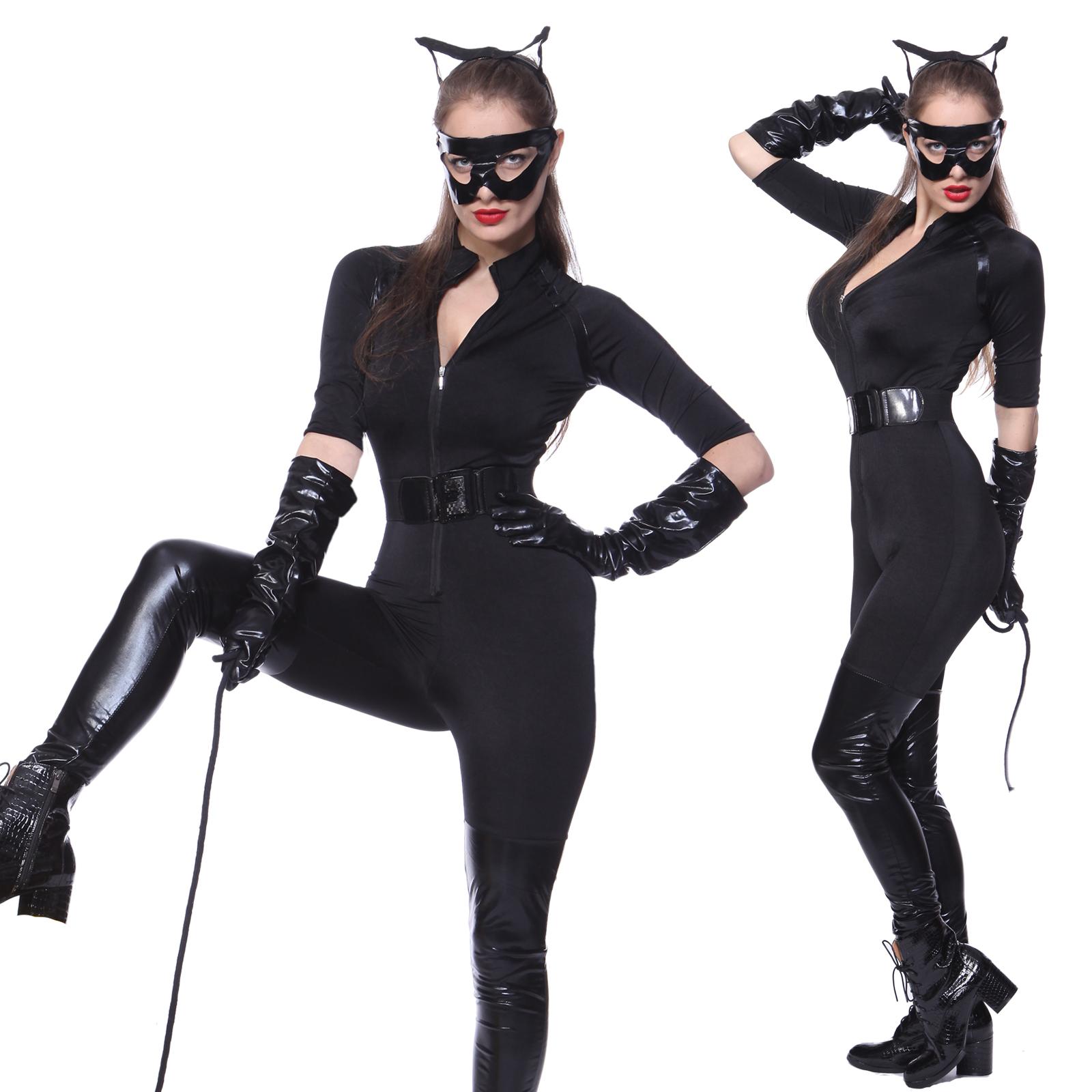 sexy damen kost m catsuit overall katze ganzk rper karneval weihnachten geschenk ebay. Black Bedroom Furniture Sets. Home Design Ideas