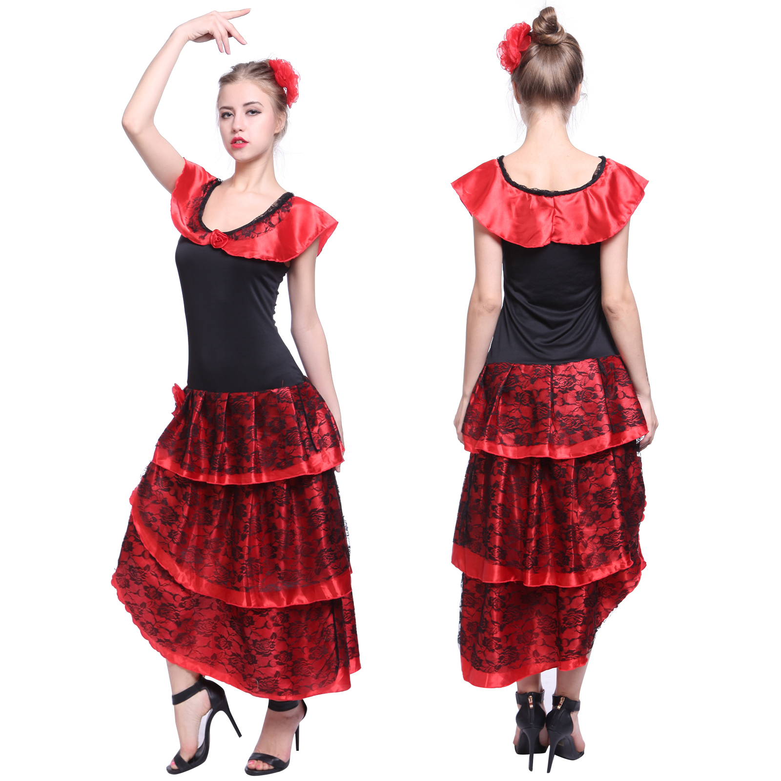 ladies spanish flamenco fancy dress senorita rumba salsa. Black Bedroom Furniture Sets. Home Design Ideas