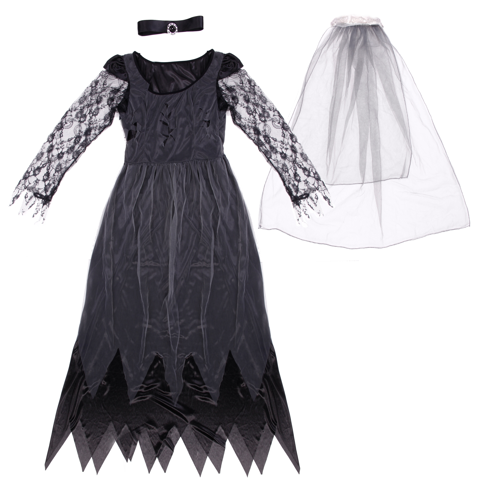 Ladies halloween witch princess vampire zombie bride for Corpse bride wedding dress for sale