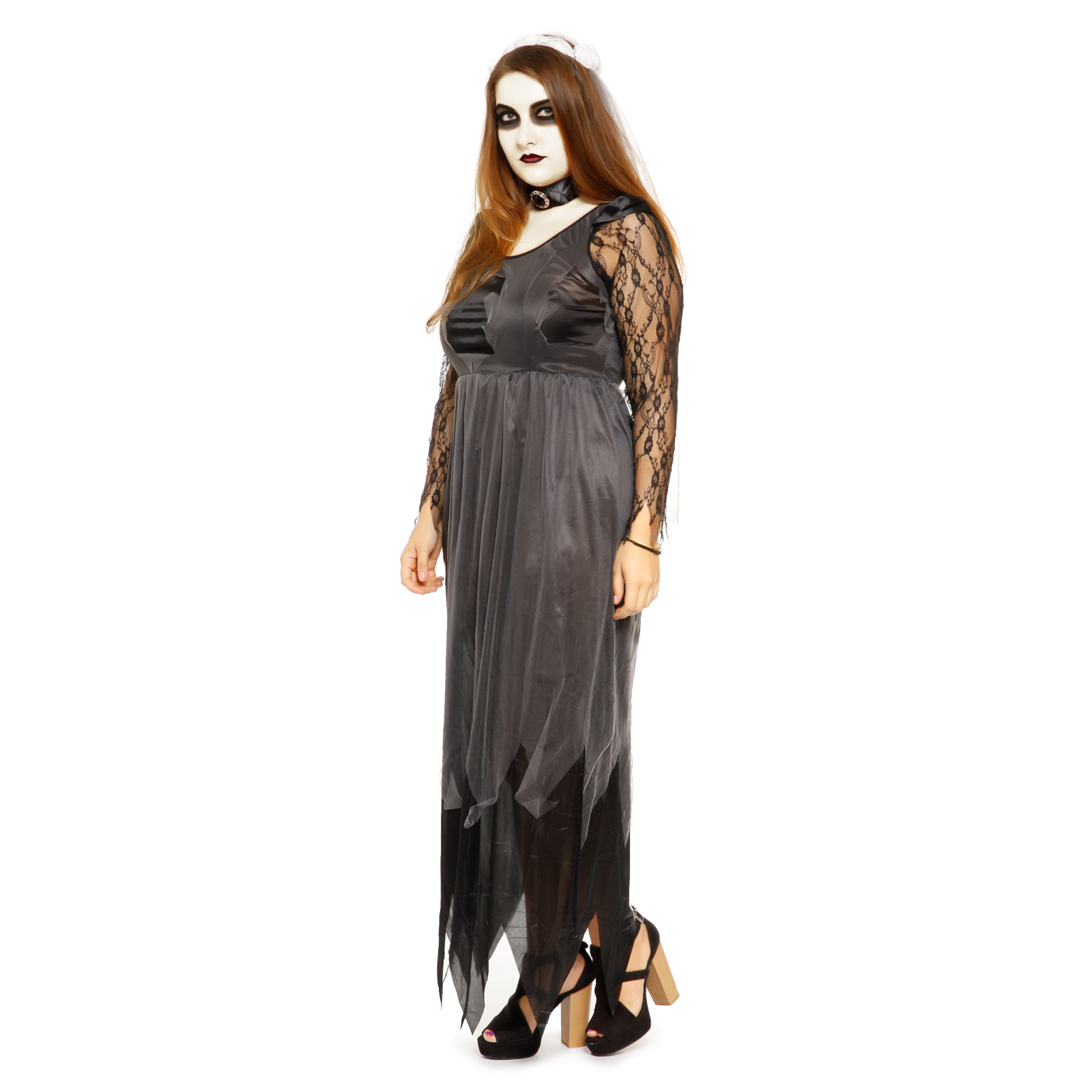 robe noir longue de deguisement fantome mariee zombie pr femme halloween l xxl ebay. Black Bedroom Furniture Sets. Home Design Ideas