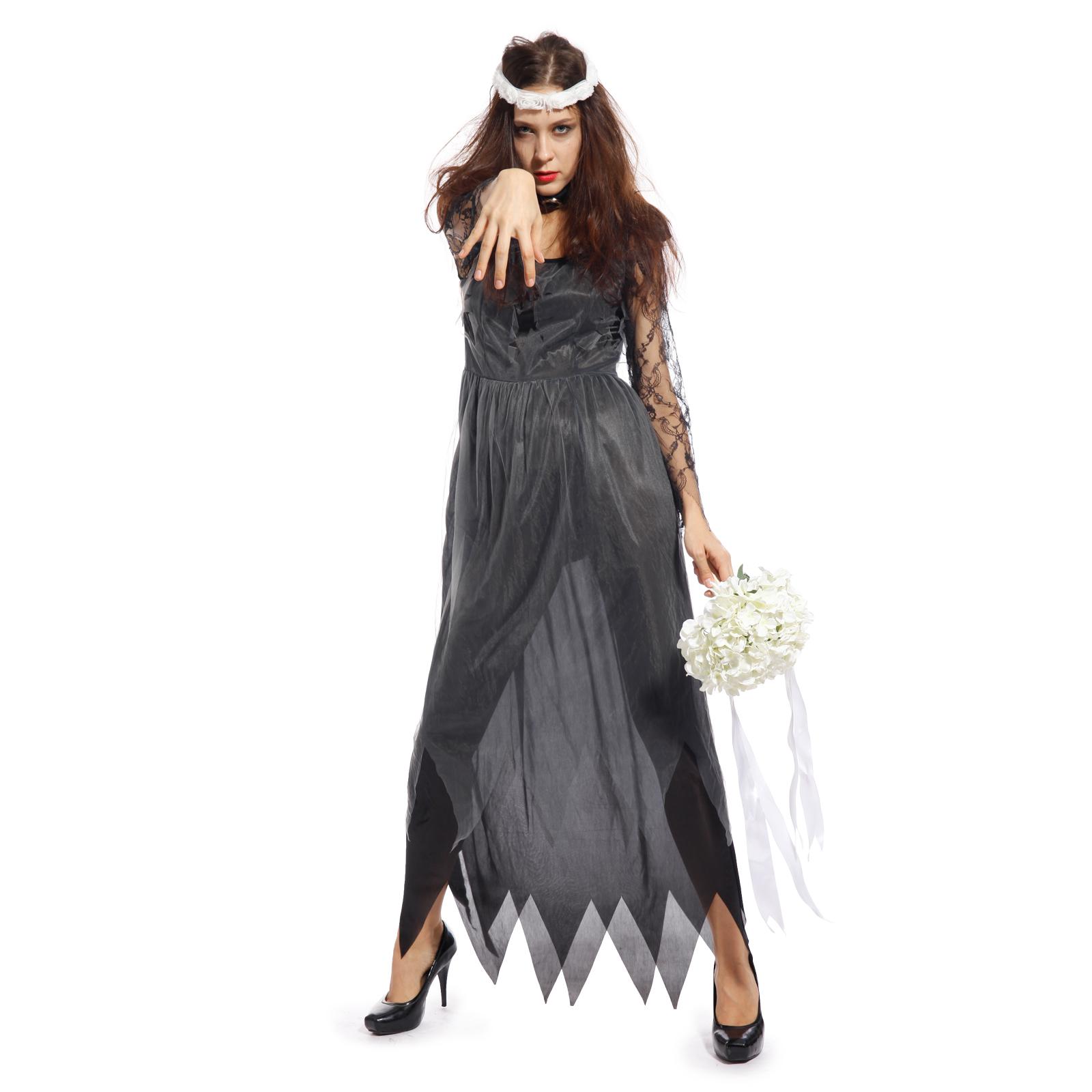 Ladies Halloween Zombie Corpse Bride Fancy Dress Costume