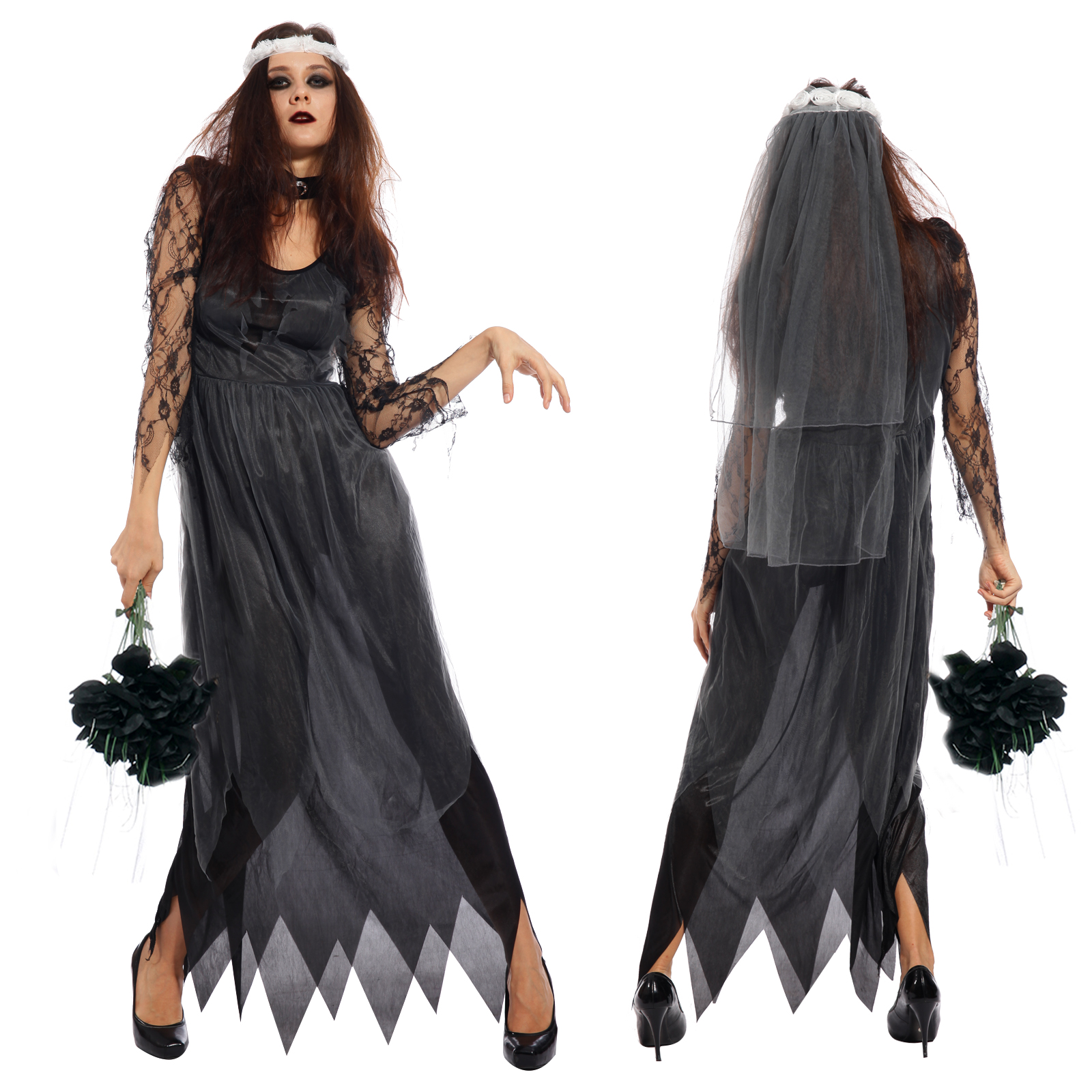 damen halloween outfits horror karneval kleid kost m zombie hexe vampir geist ebay. Black Bedroom Furniture Sets. Home Design Ideas