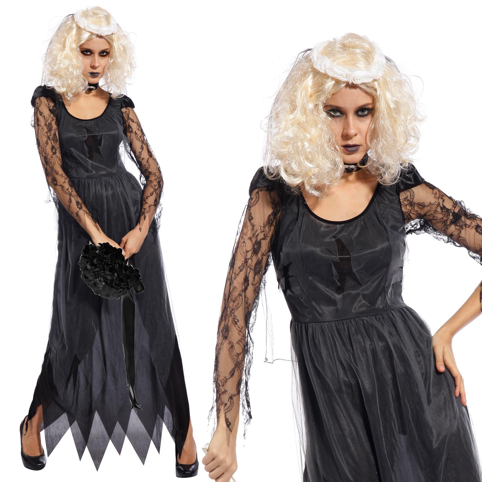geist braut kost m gothischer vampir zombie halloween karneval verkleidung damen ebay. Black Bedroom Furniture Sets. Home Design Ideas