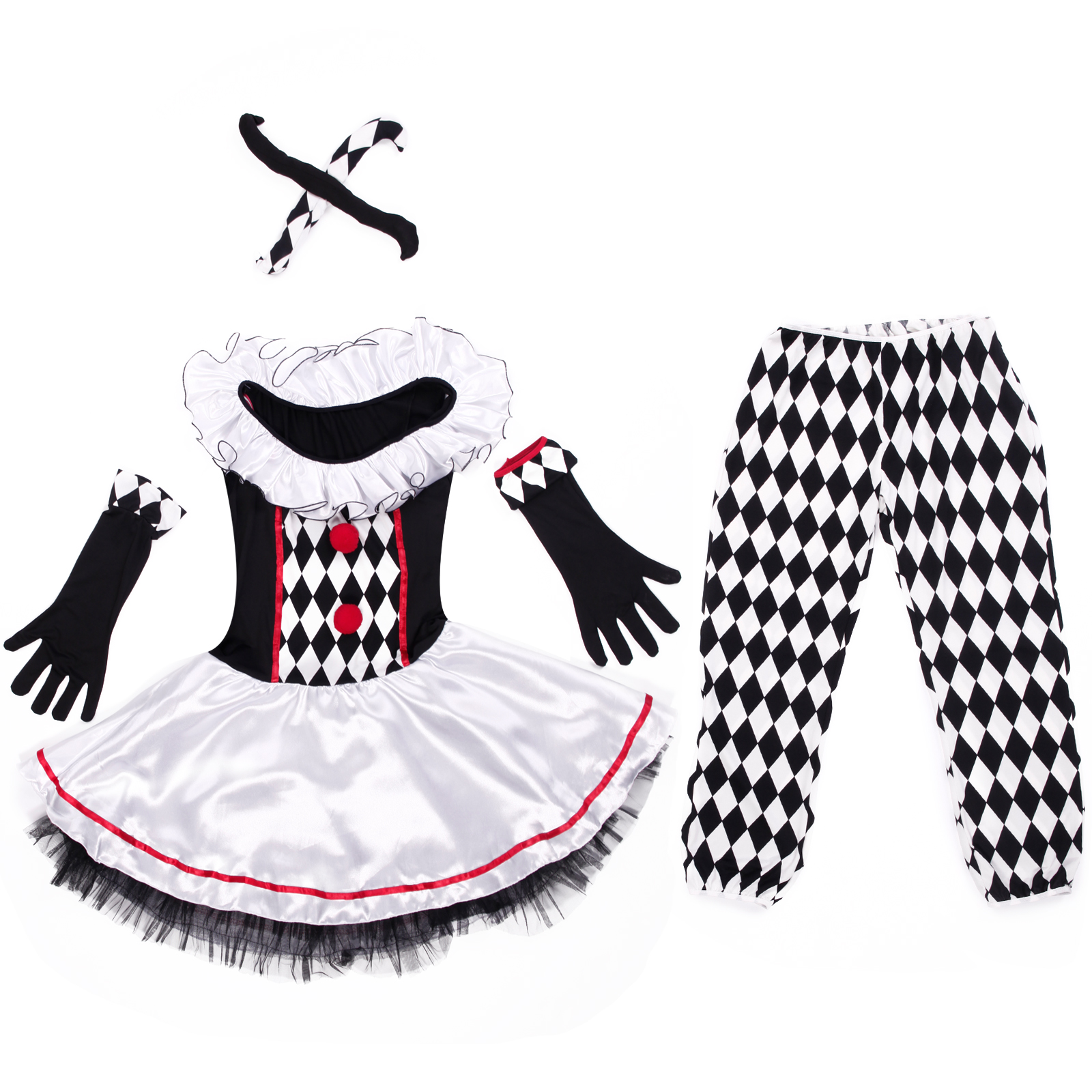 pierrot harlekin clown schwarz wei damen kost m karneval fasching circus outfit ebay. Black Bedroom Furniture Sets. Home Design Ideas