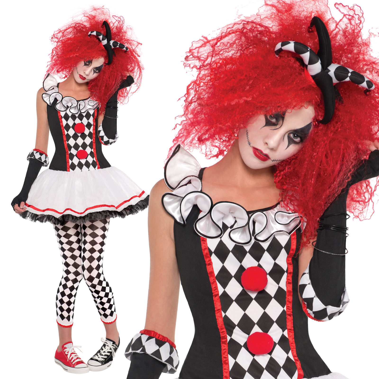 sexy costume cosplay clown bouffon jester cirque halloween. Black Bedroom Furniture Sets. Home Design Ideas