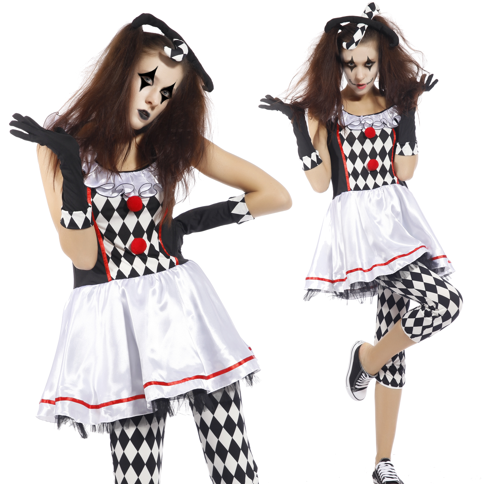 Ladies Scary Clown Jester Harlequin Honey Halloween Fancy Dress ...