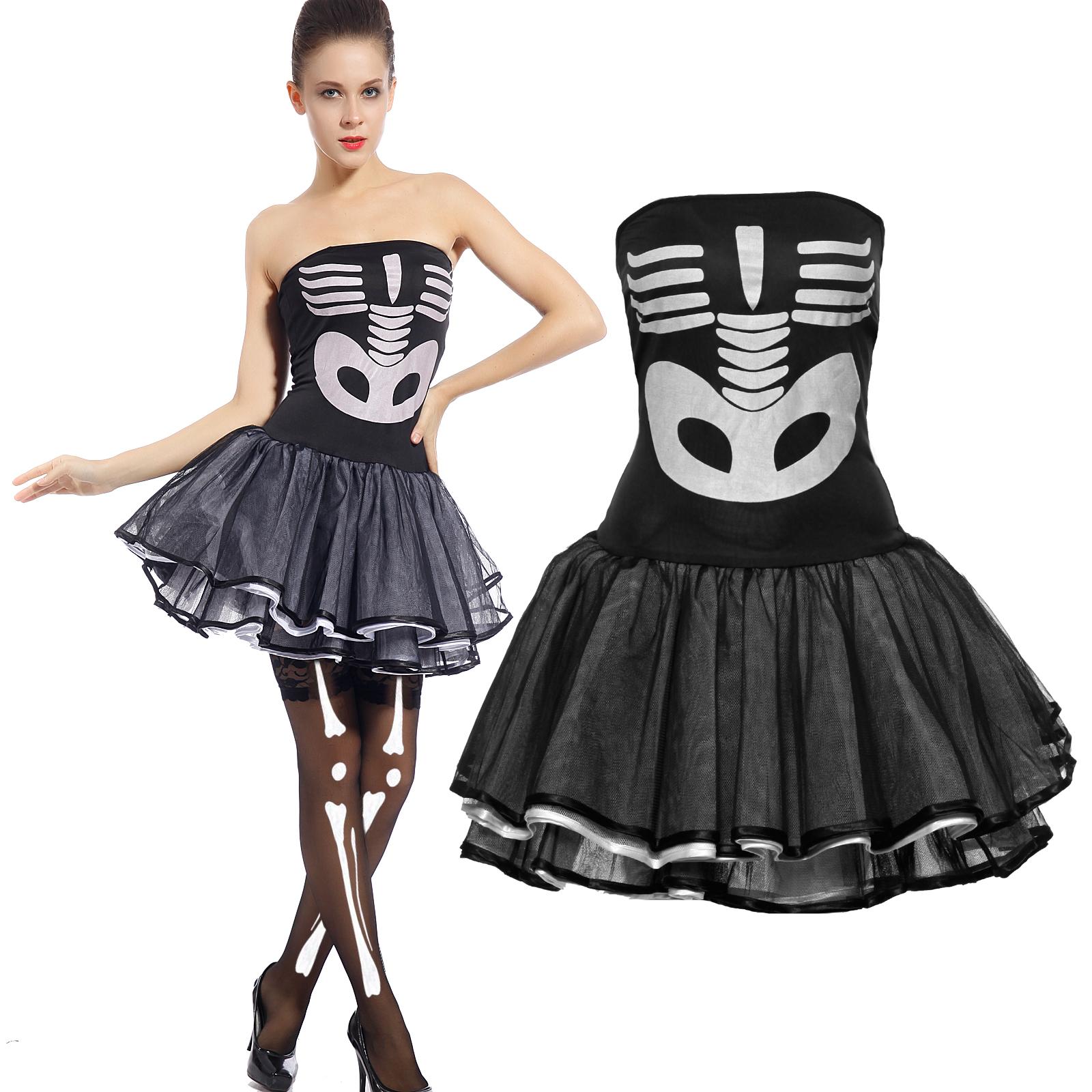 tutu body femmes squelette halloween fantatie costume d guisement tenue ebay. Black Bedroom Furniture Sets. Home Design Ideas
