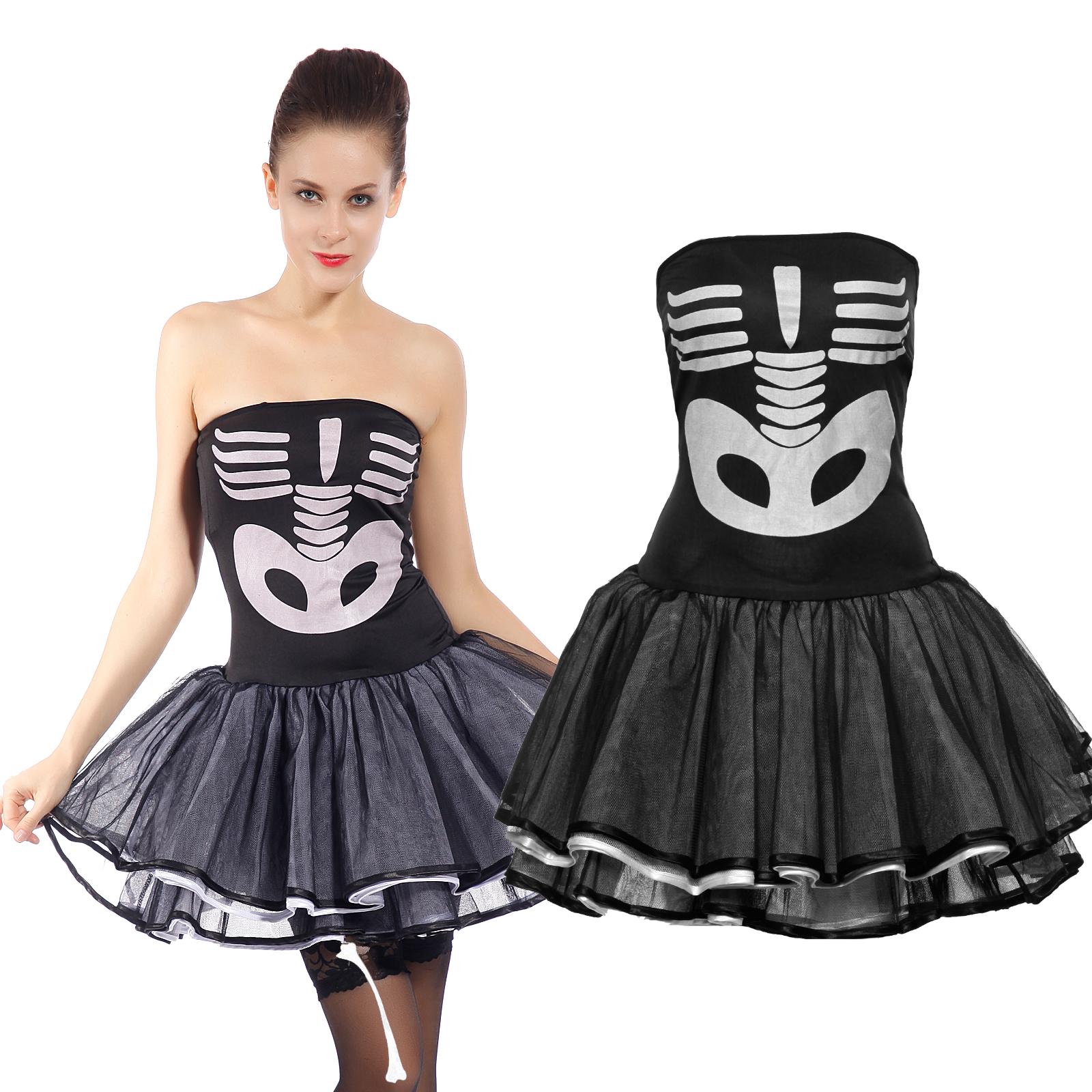 damen skelettkost m zombie vampir geist kost m knochen kleid halloween karneval ebay. Black Bedroom Furniture Sets. Home Design Ideas