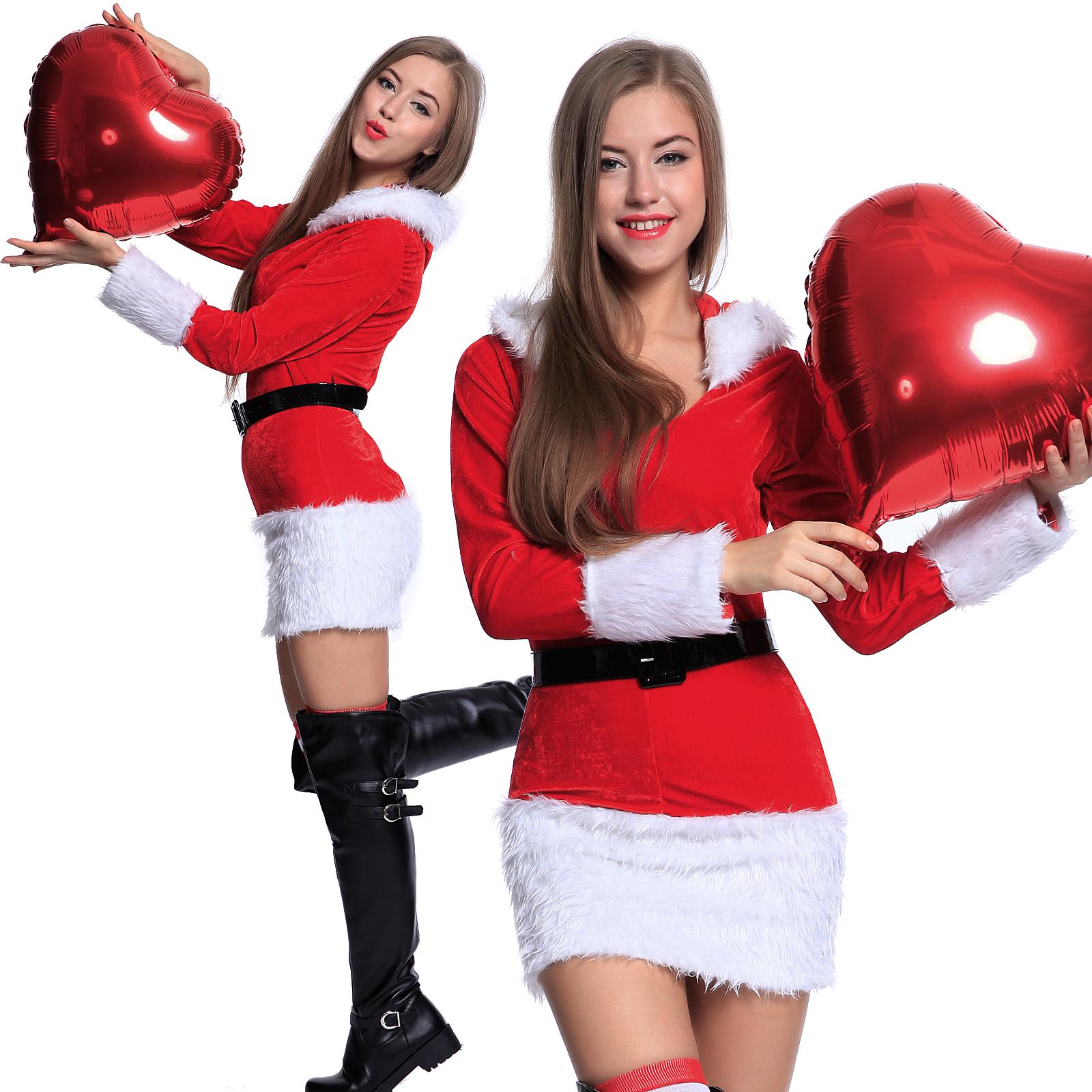 kost m m dchen damen weihnachtsfrau kleider weihnachten. Black Bedroom Furniture Sets. Home Design Ideas