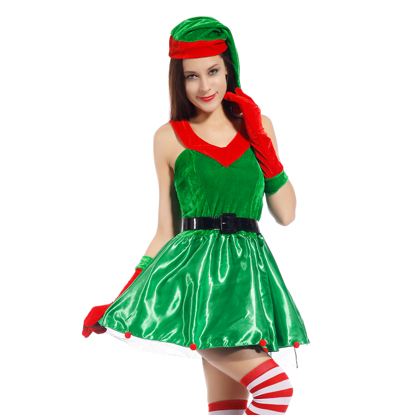 4teil weihnachten kost m damen nikolaus weihnachtself weihnachtsfrau santa kleid ebay. Black Bedroom Furniture Sets. Home Design Ideas